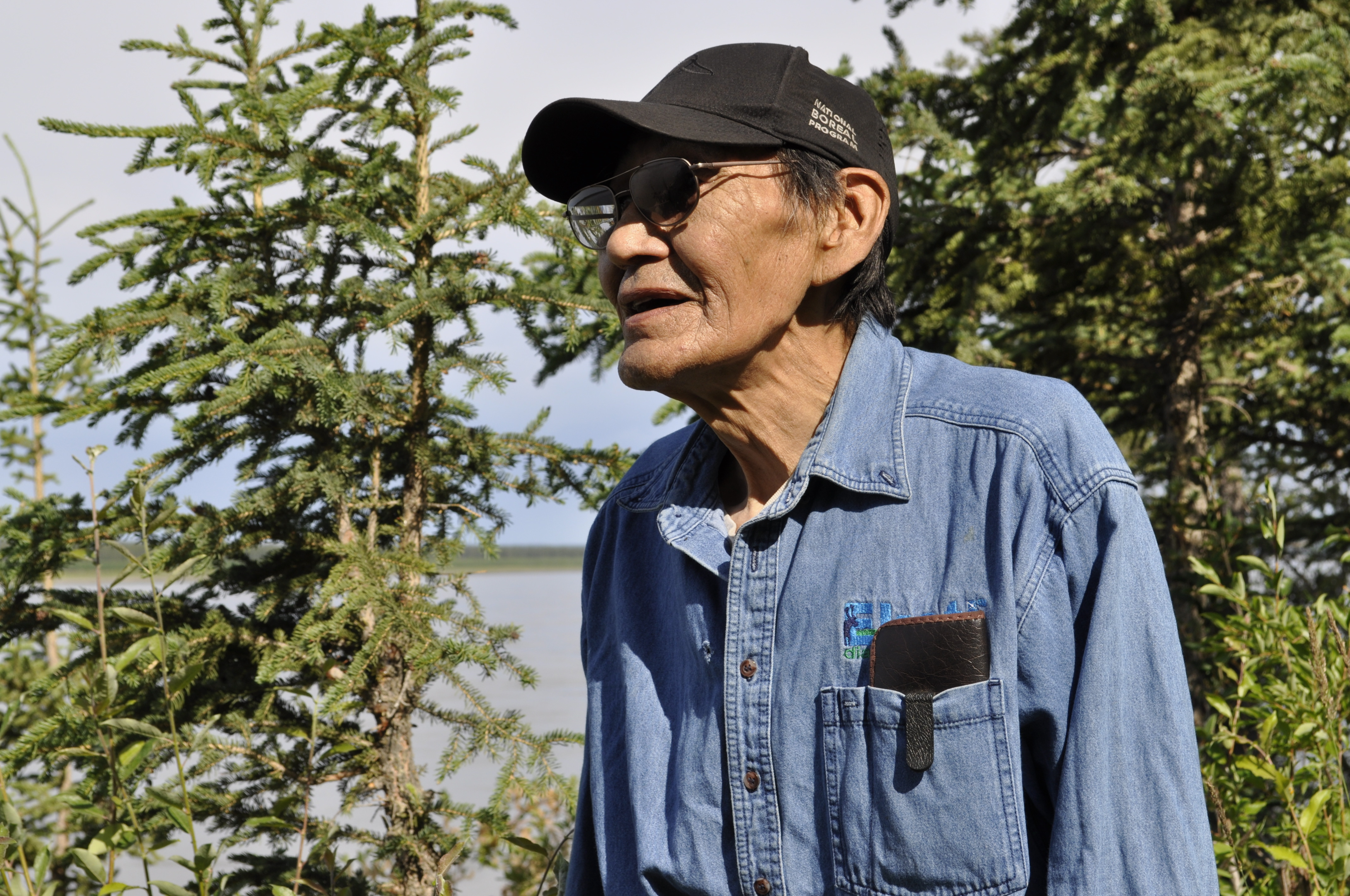 Frank T'seleie stands in his backyard, where he's encouraging plants to grow. He hopes that can prevent erosion on the shoreline. (Alex Brockman/CBC)