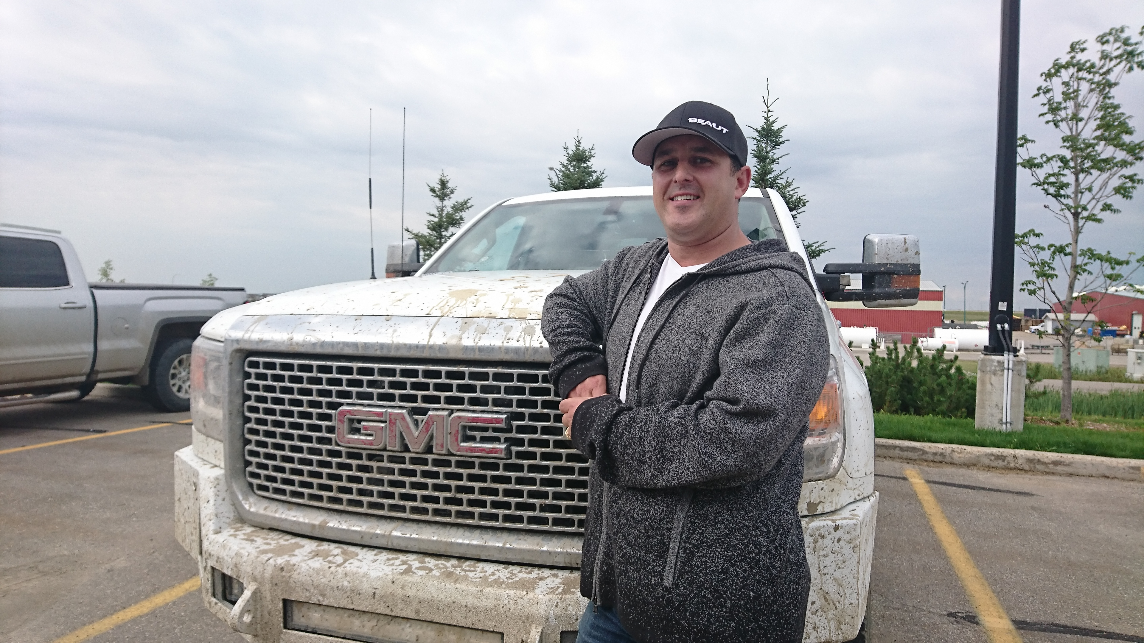 Grande Prairie, Alta., resident Aaron Gallagher works for Beaut Oilfield Services, an oil and gas trucking company. (Tony Seskus/CBC)