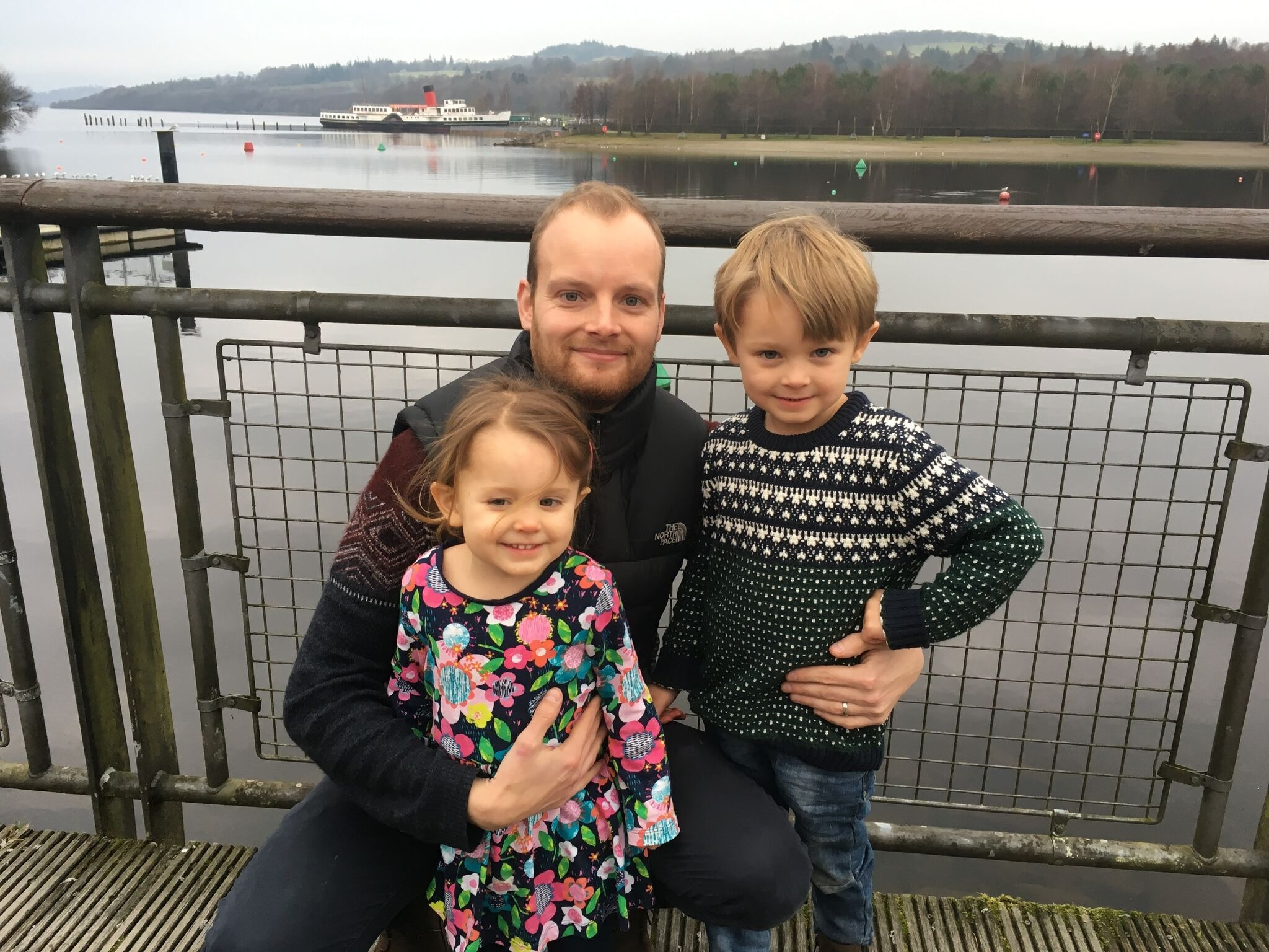 David Brand, centre, is shown with his two children, Isabel and Callum, at Loch Lomond, near their home in Scotland. (Submitted by David Brand)