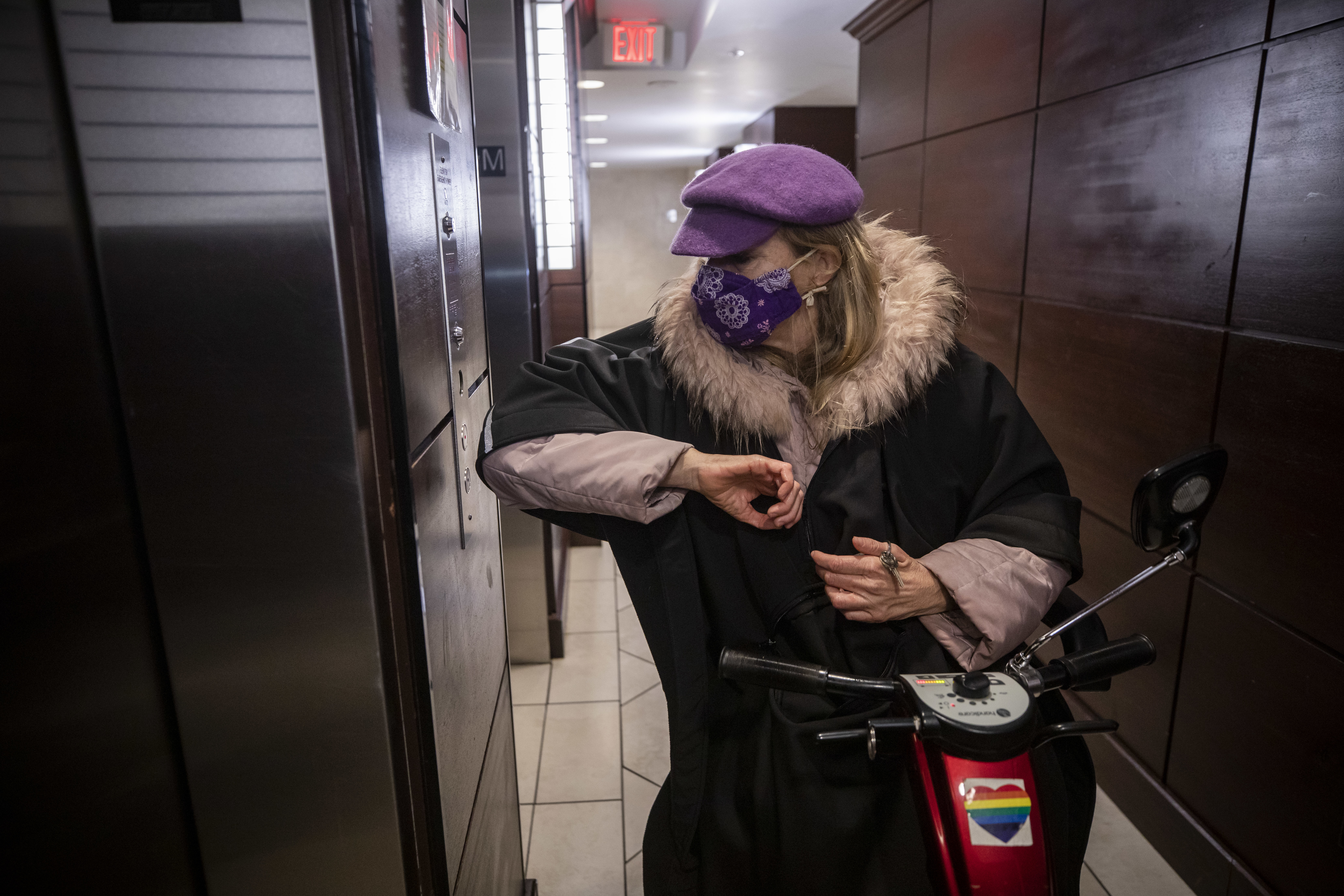 Laurence uses her scooter to travel to the nearby grocery store and attend medical appointments. (Ben Nelms/CBC)