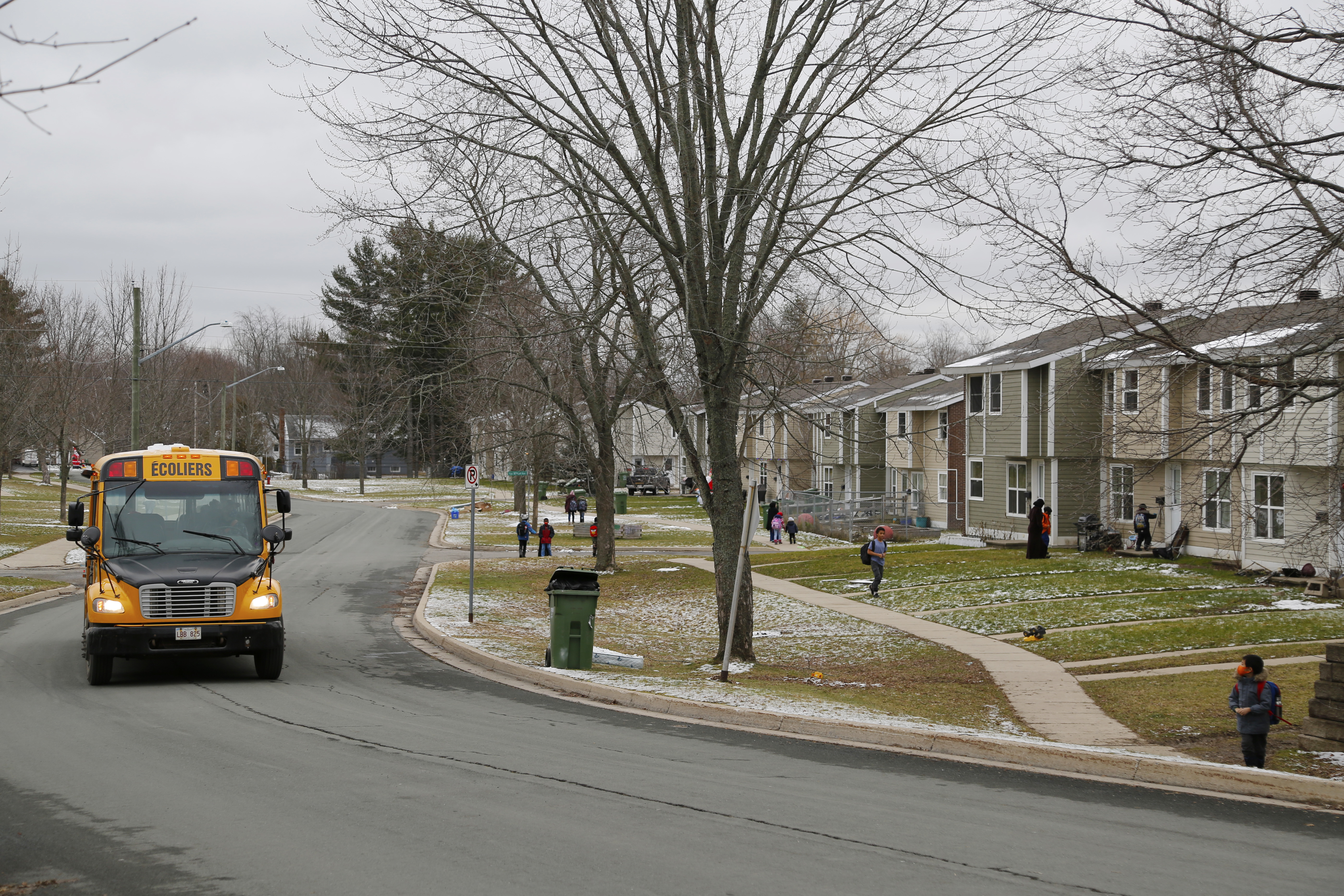 Three school buses make their way to Doone Street every morning and afternoon. (Maria Jose Burgos/CBC)