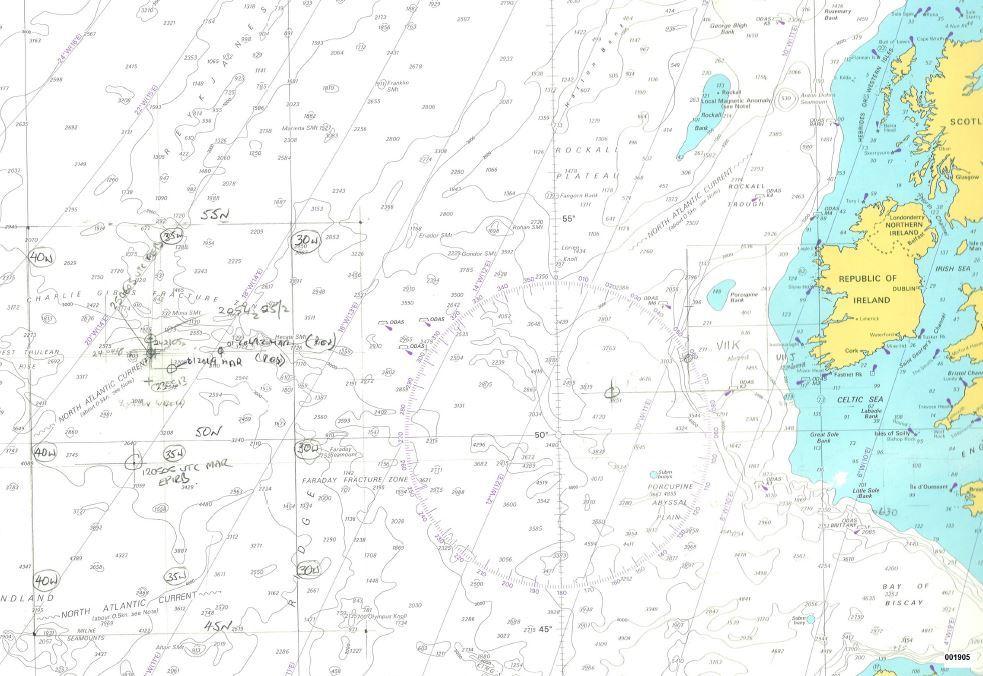 This nautical map marks where Transport Canada officials tracked the Lyubov Orlova's drift across the Atlantic. (Transport Canada)