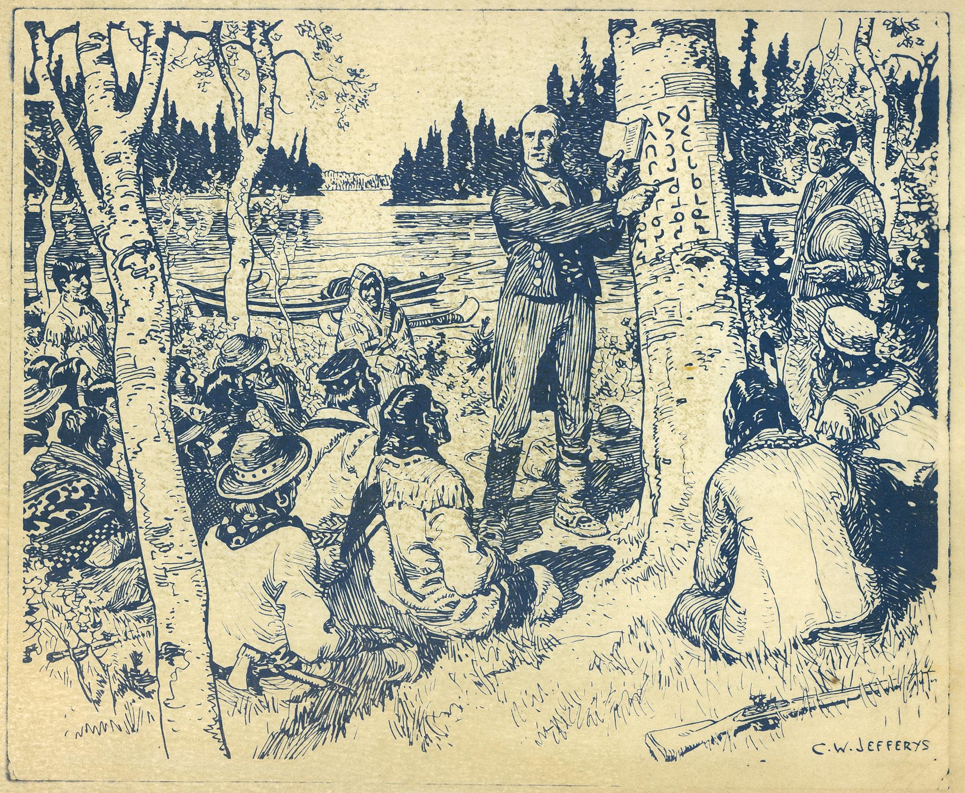 James Evans teaching Cree syllabics to a group. C.W. Jefferys, 1934. Victoria University Library (Toronto).
