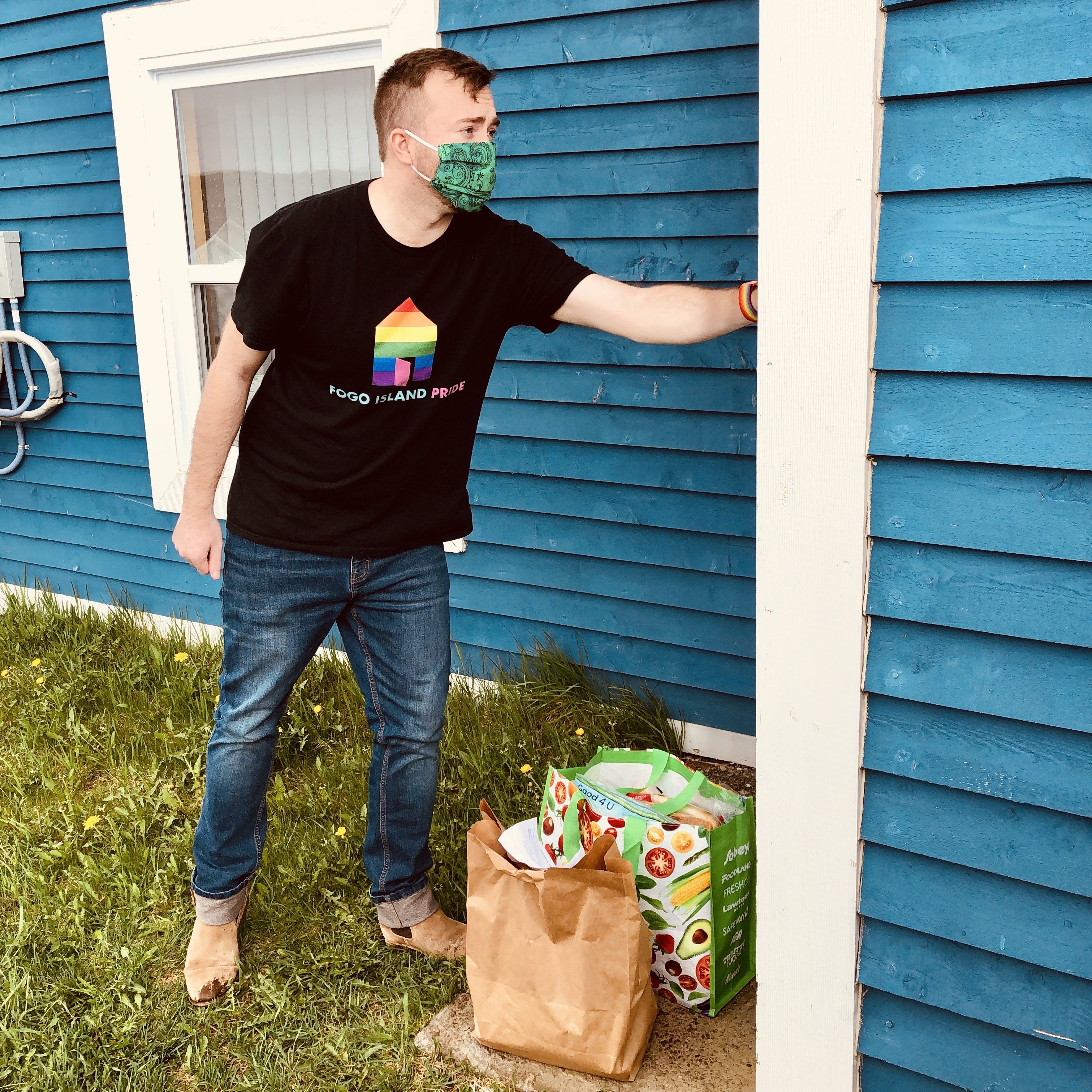 Evan Parsons delivers groceries as part of Fogo Island Pride's outreach project on food insecurity. (Submitted by Evan Parsons)