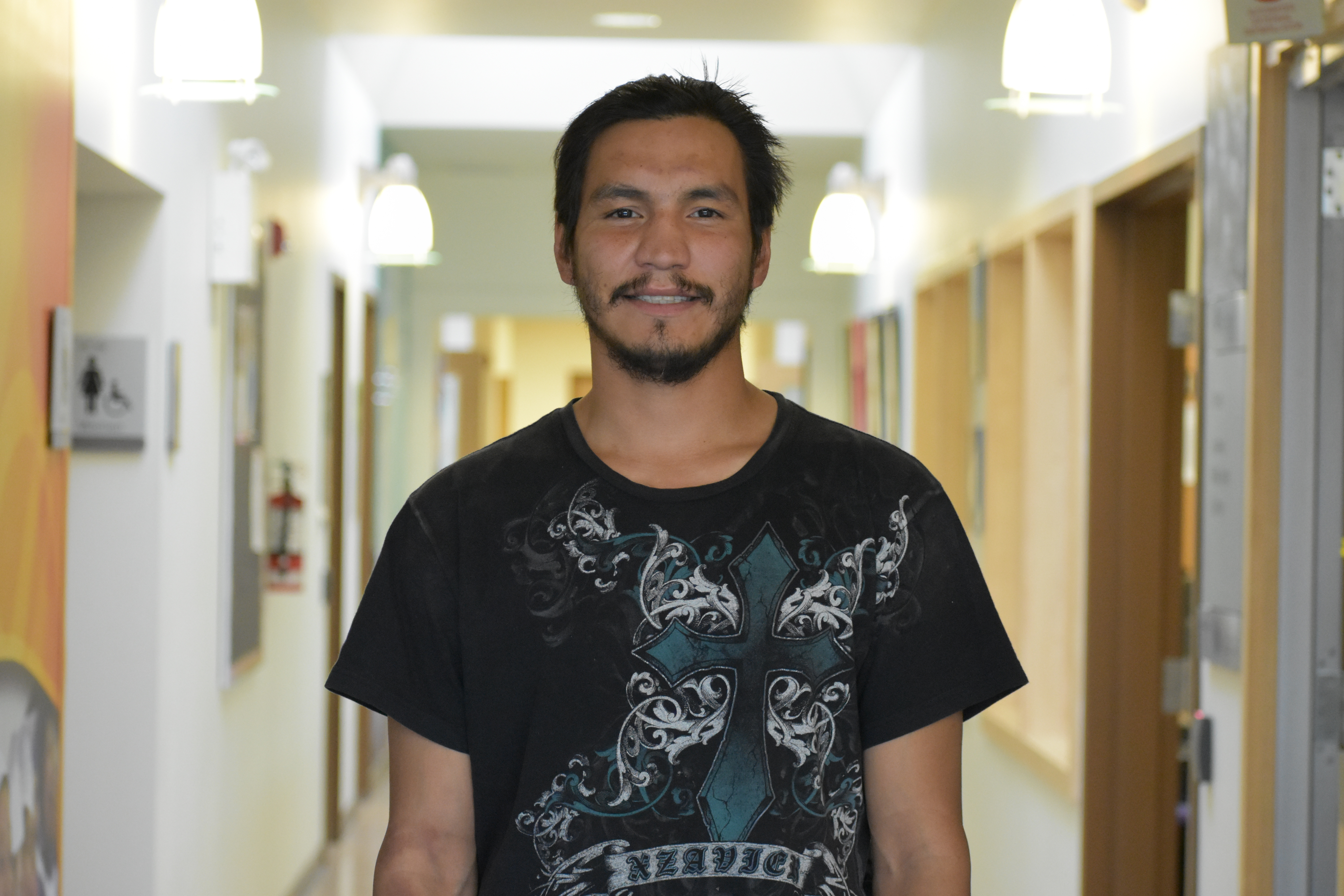 Alex Mercredi-Cardinal is studying education at the Keyano College campus in Fort Chipewyan. (Geneviève Normand/CBC Radio-Canada)