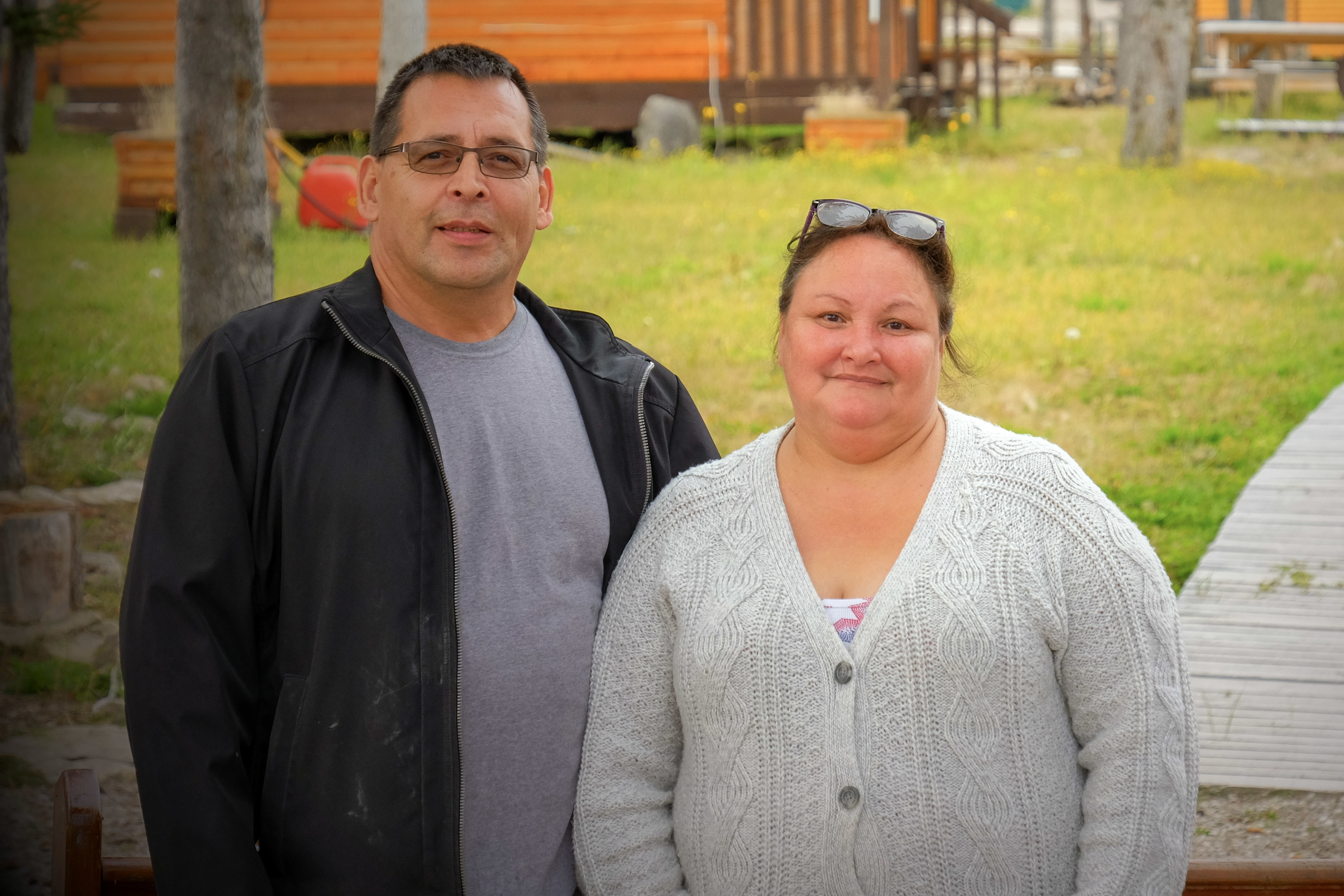 Ruby and Francois Prince are community facilitators from Fort St. James, B.C., who have been holding workshops in Fort Resolution for the past five years. (Graham Shishkov/CBC)