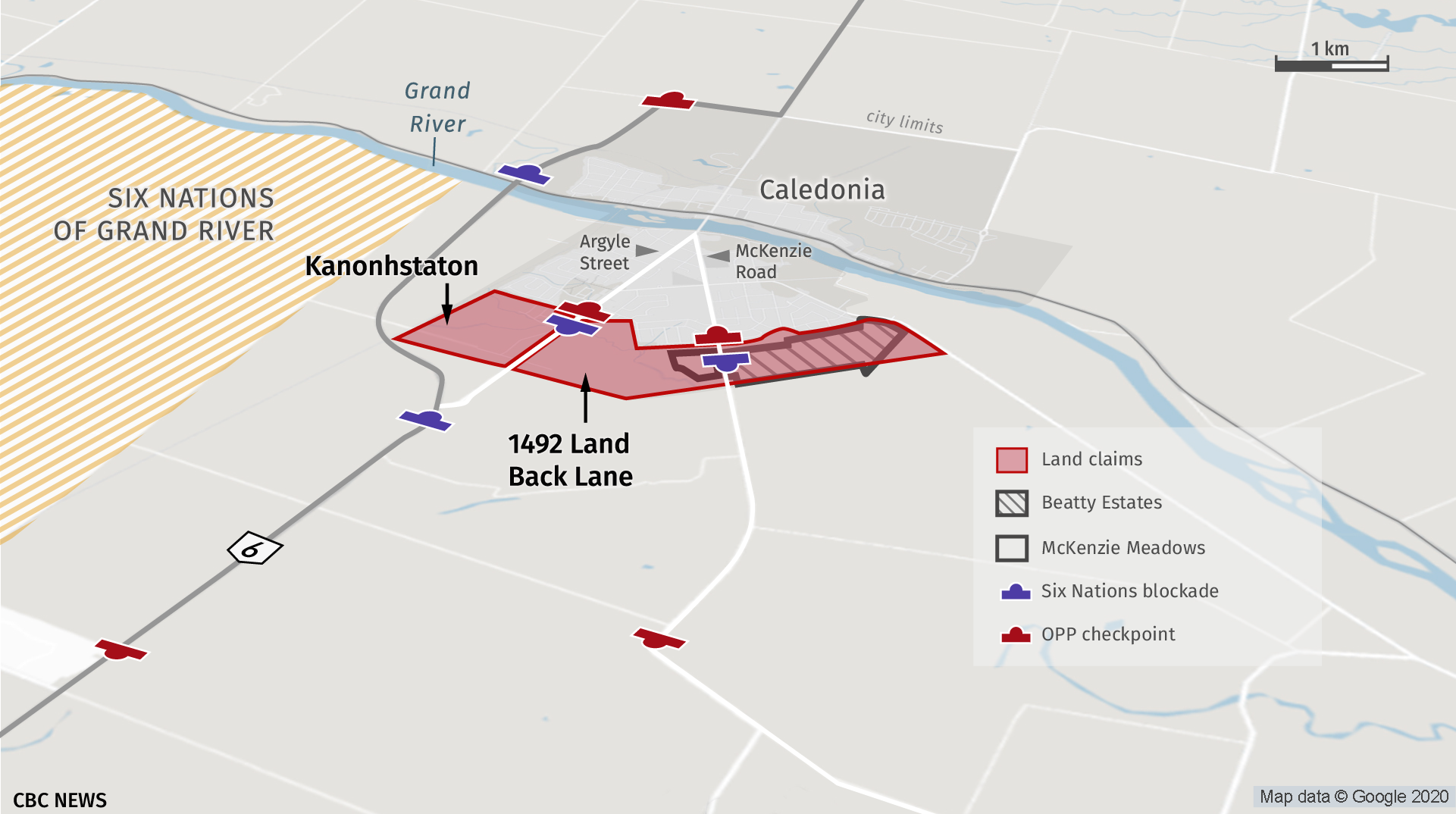This map illustrates the various barricades currently set up around the town of Caledonia. (CBC)