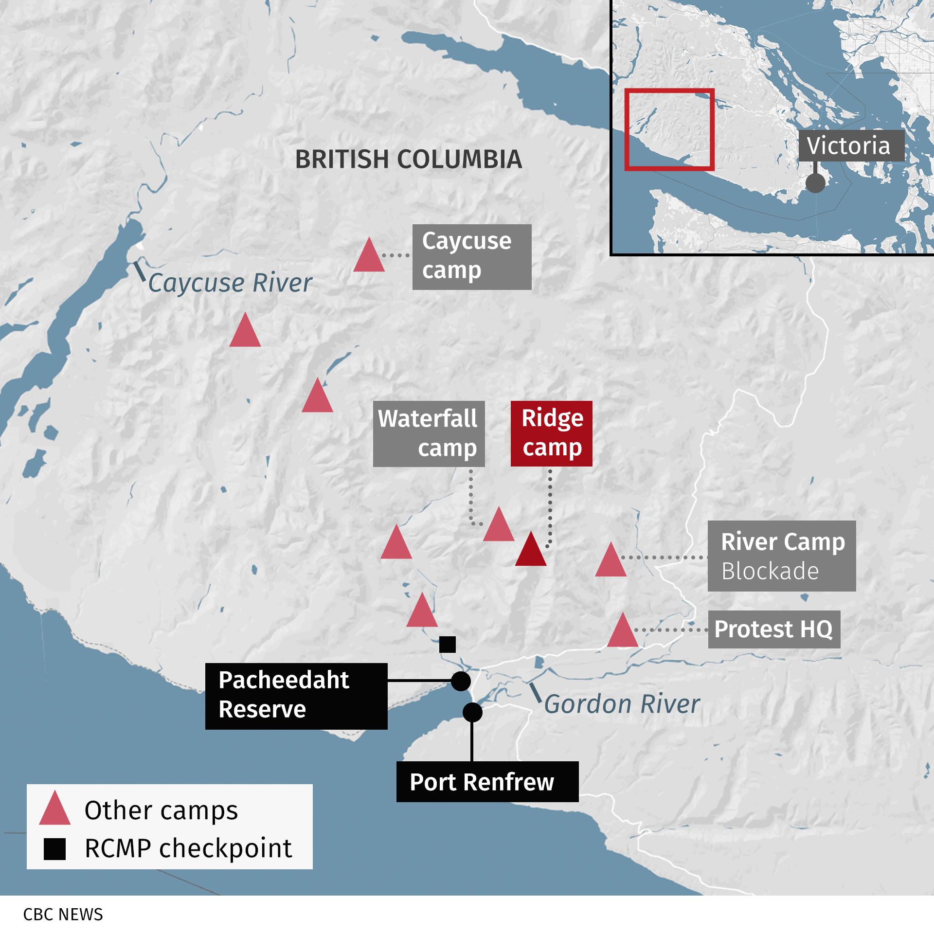 A map of southwestern Vancouver Island showing some of the protest camps opposing logging of old-growth forests.
