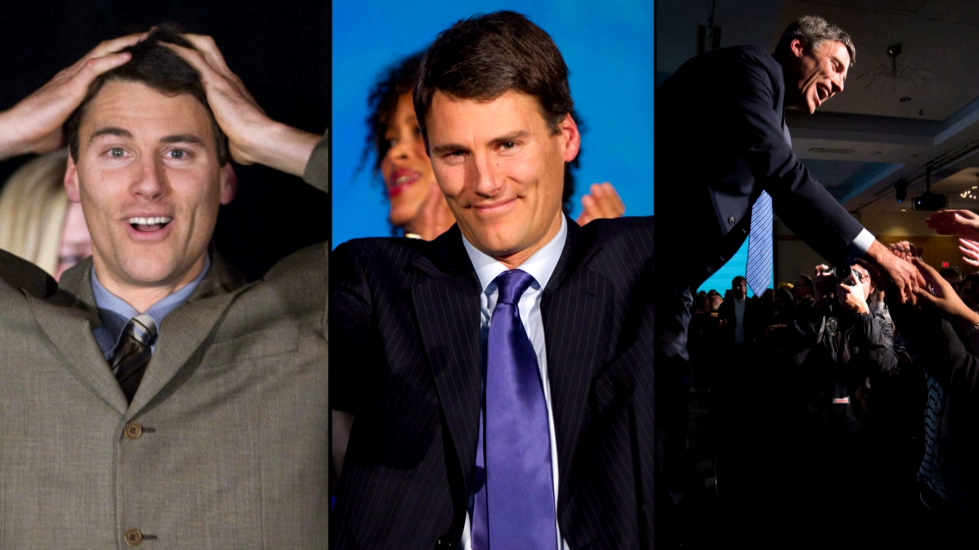 Left to right: Pictures of Gregor Robertson celebrating his election victories in 2008, 2011 and 2014 (Photos courtesy Canadian Press)