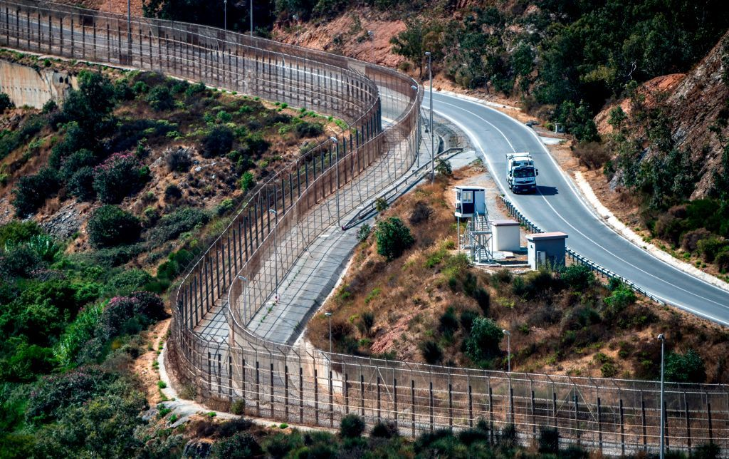 A view of a guard tower overlooking the border fence encircling Spain's North African enclave of Ceuta, which lies on the Strait of Gibraltar, surrounded by Morocco. (Fadel Senna/AFP/Getty Images)