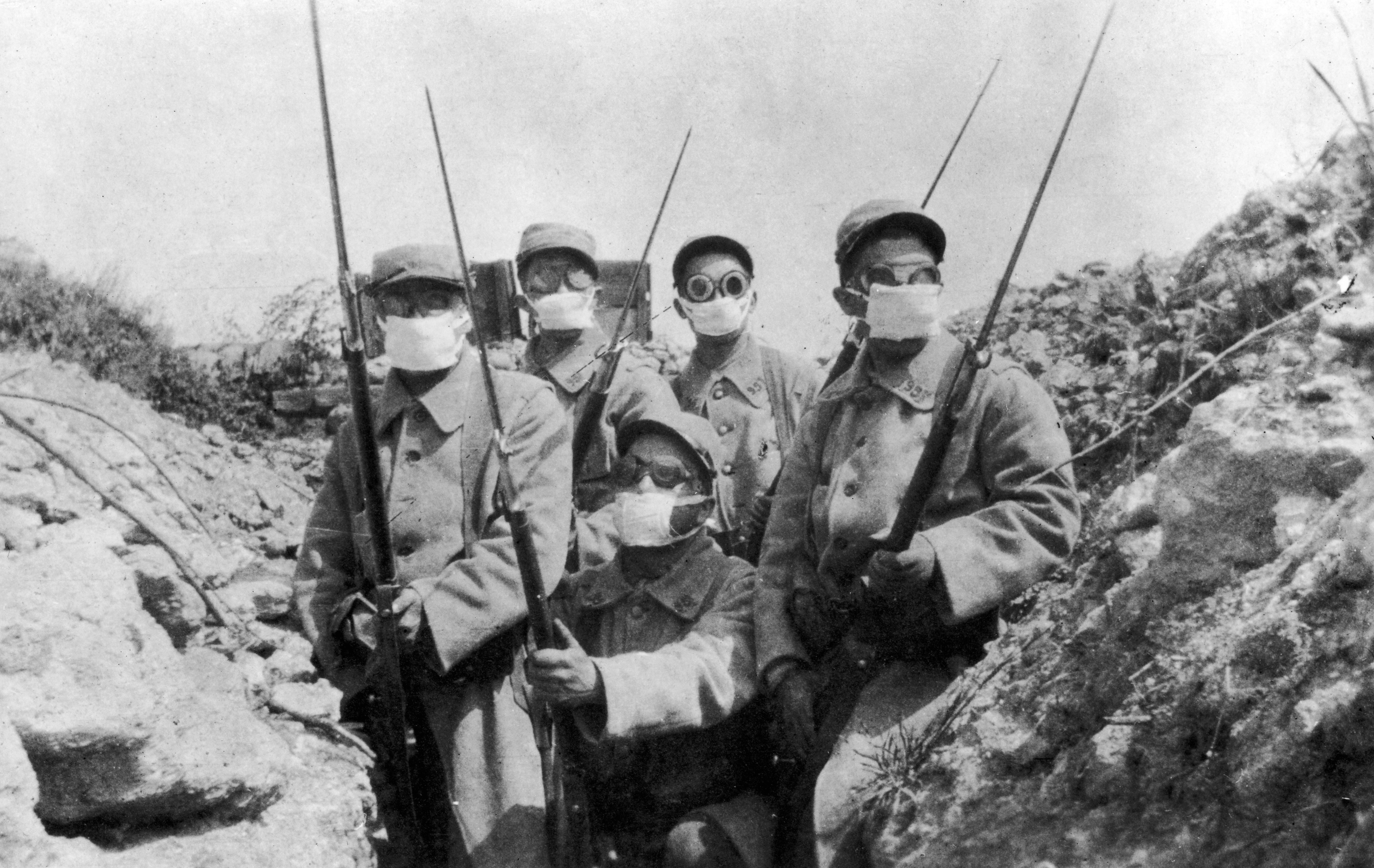 French troops wearing an early form of gas mask in the trenches during the Second Battle of Ypres, which was the first instance of a widespread gas attack. (Photo by Hulton Archive/Getty Images)