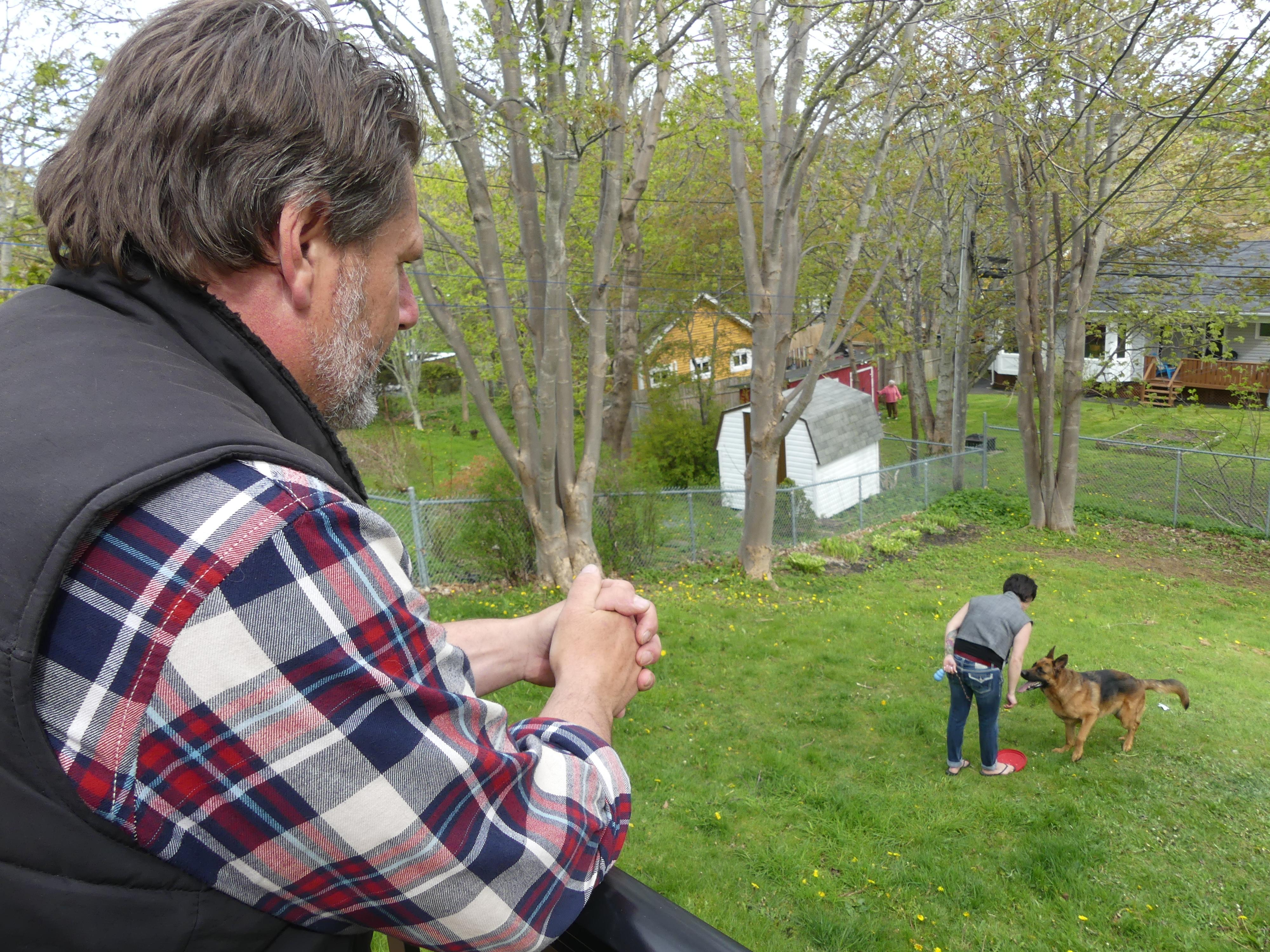Animal trainer Glenn Redmond has been training Tori to be a service dog. (Ariana Kelland/CBC)