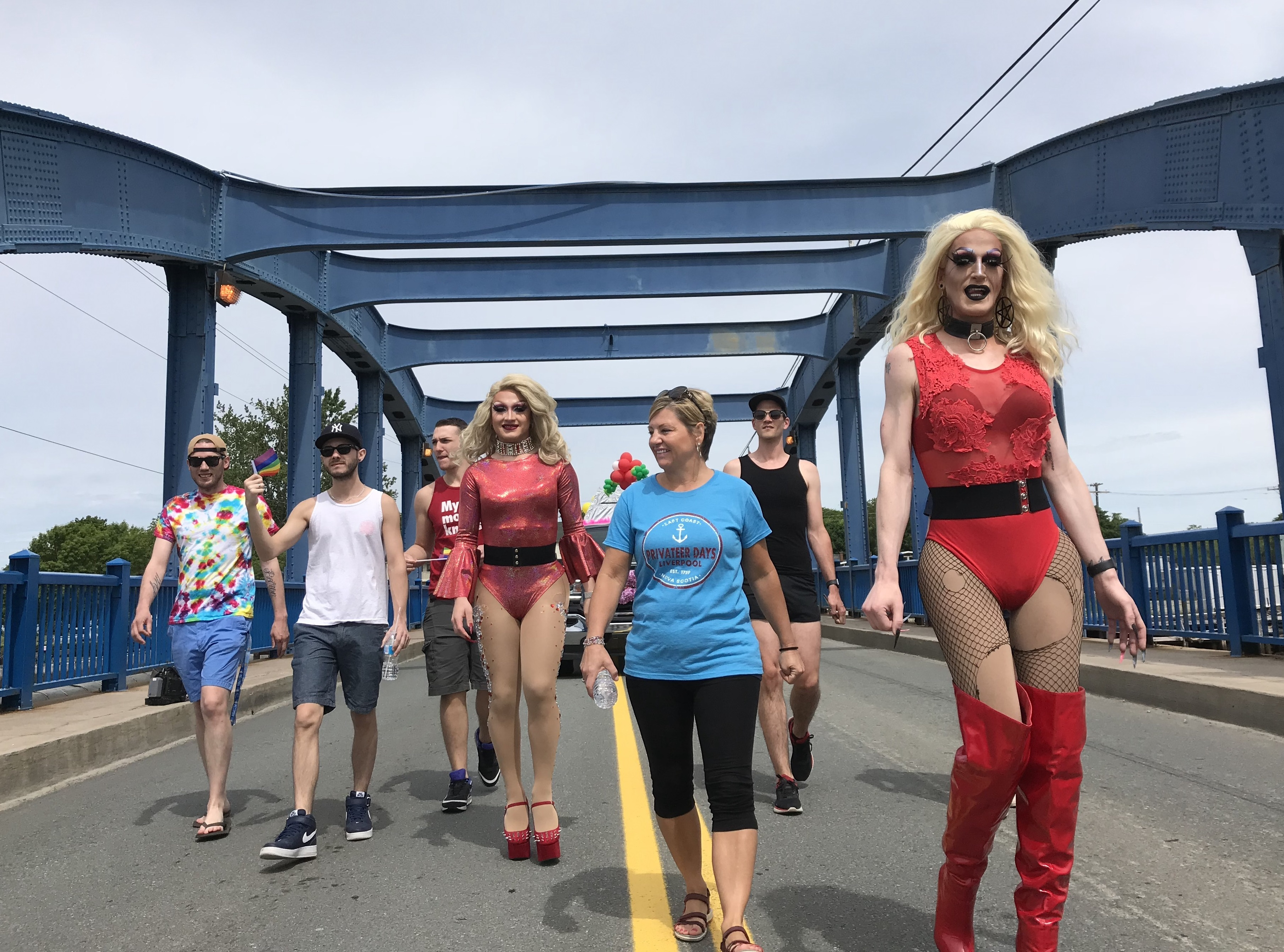 Drag queens Zara Matrix and Bridget Von Snaps march in the Privateer Days Parade in Liverpool, N.S. (Steve Berry/CBC)