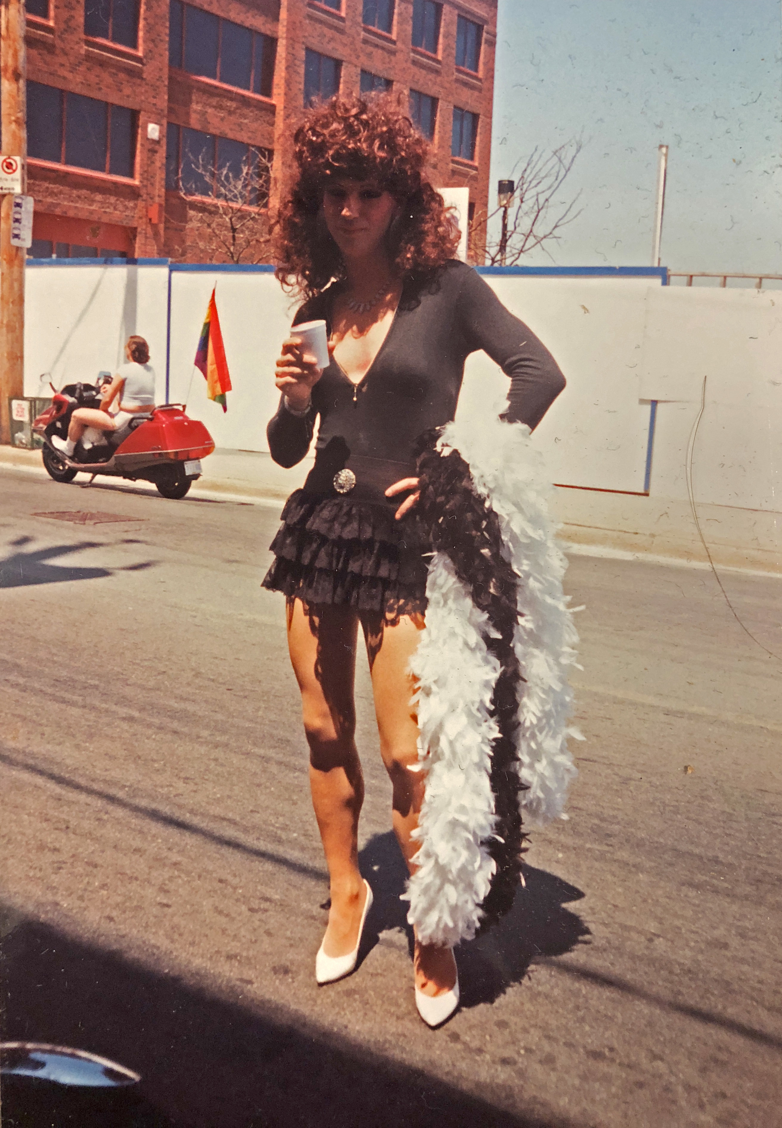 A drag queen on Gottingen Street in 1993. (Nova Scotia Archives)