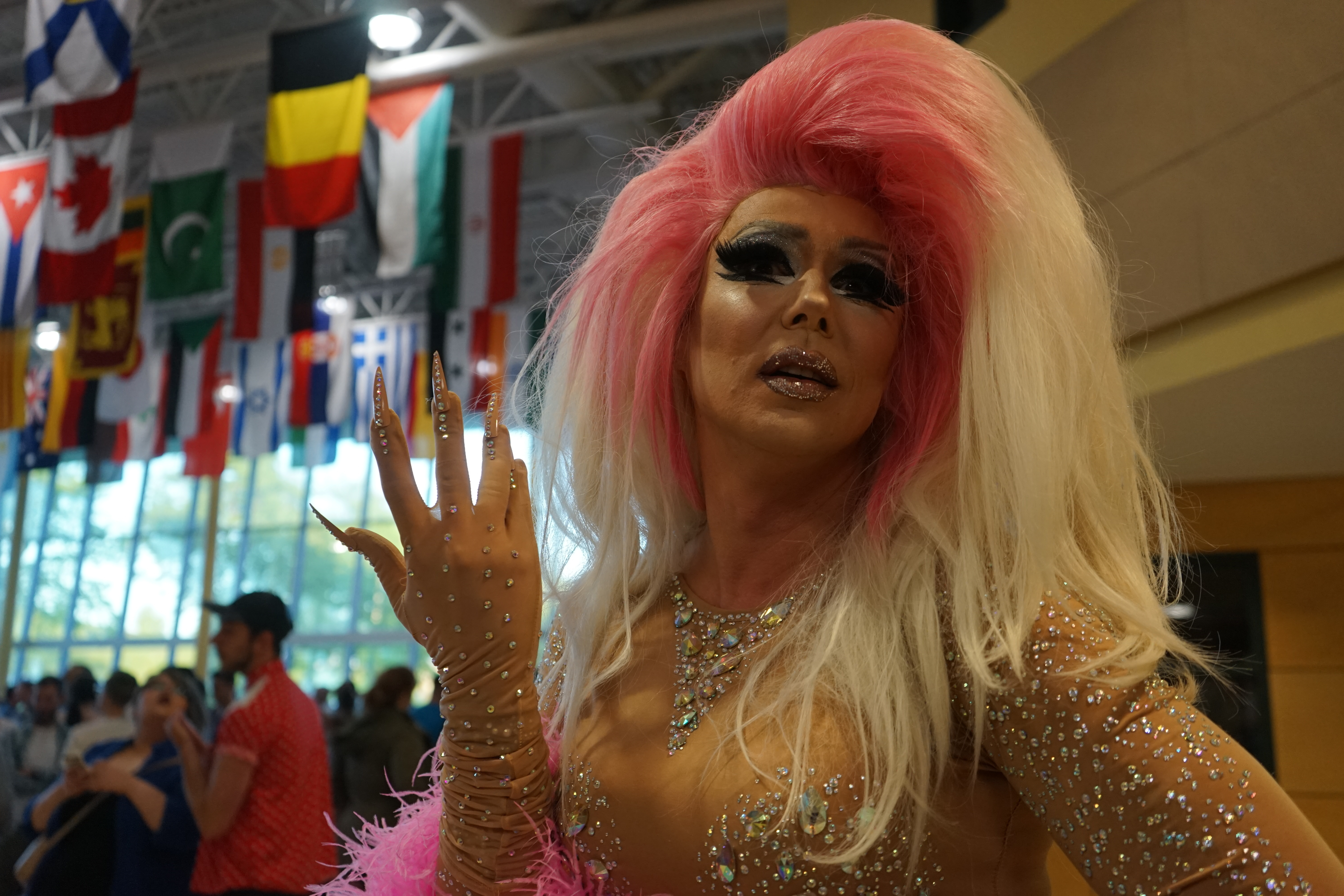 Vlad Snytkin, aka drag queen Anya Knees, at Citadel High School. (Emma Davie/CBC)