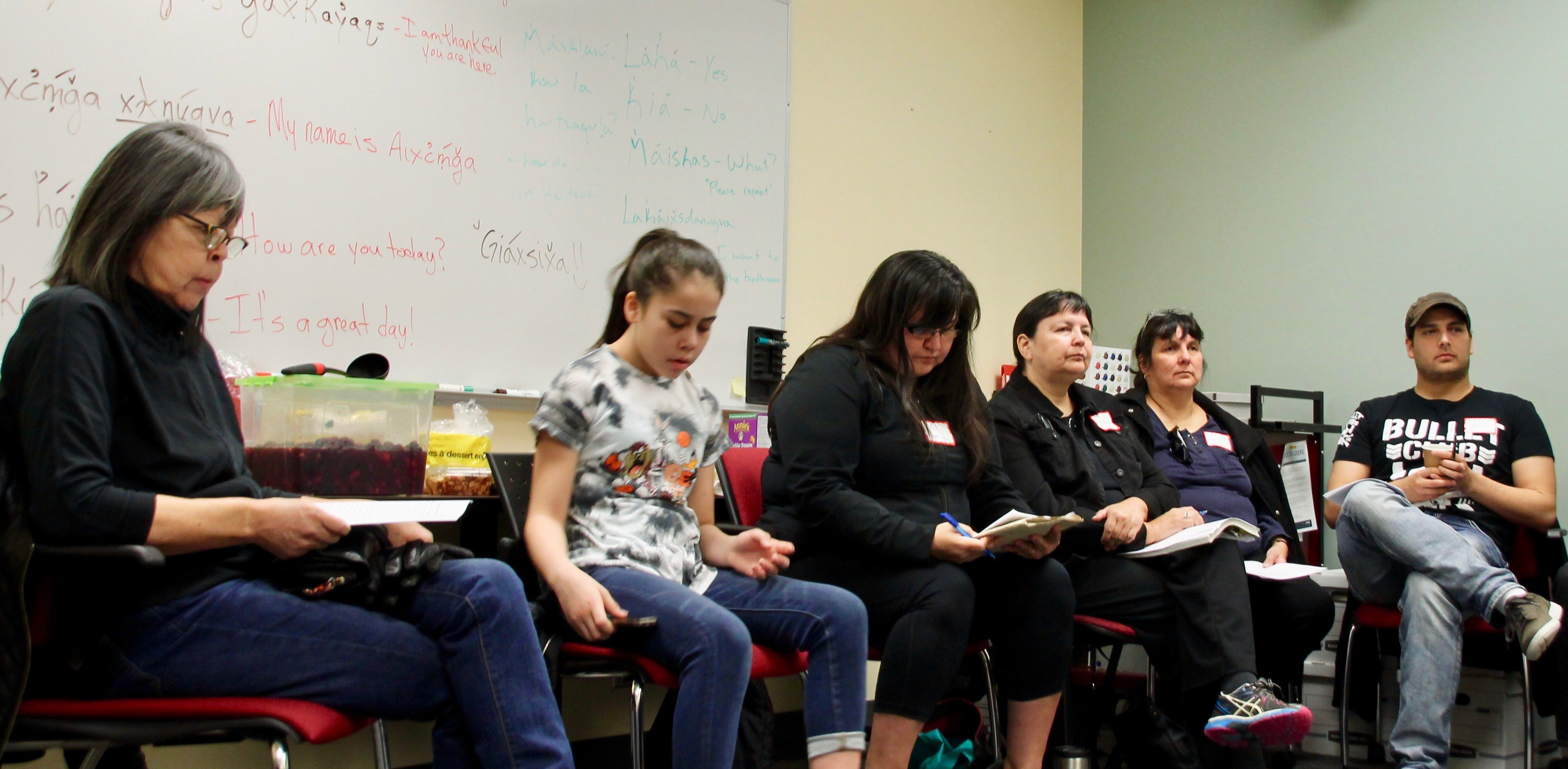 Wanda Christianson (far left) was one of 13 students in Vancouver's Hailhzaqvla class. (Rehmatullah Sheikh/Vee Wells)