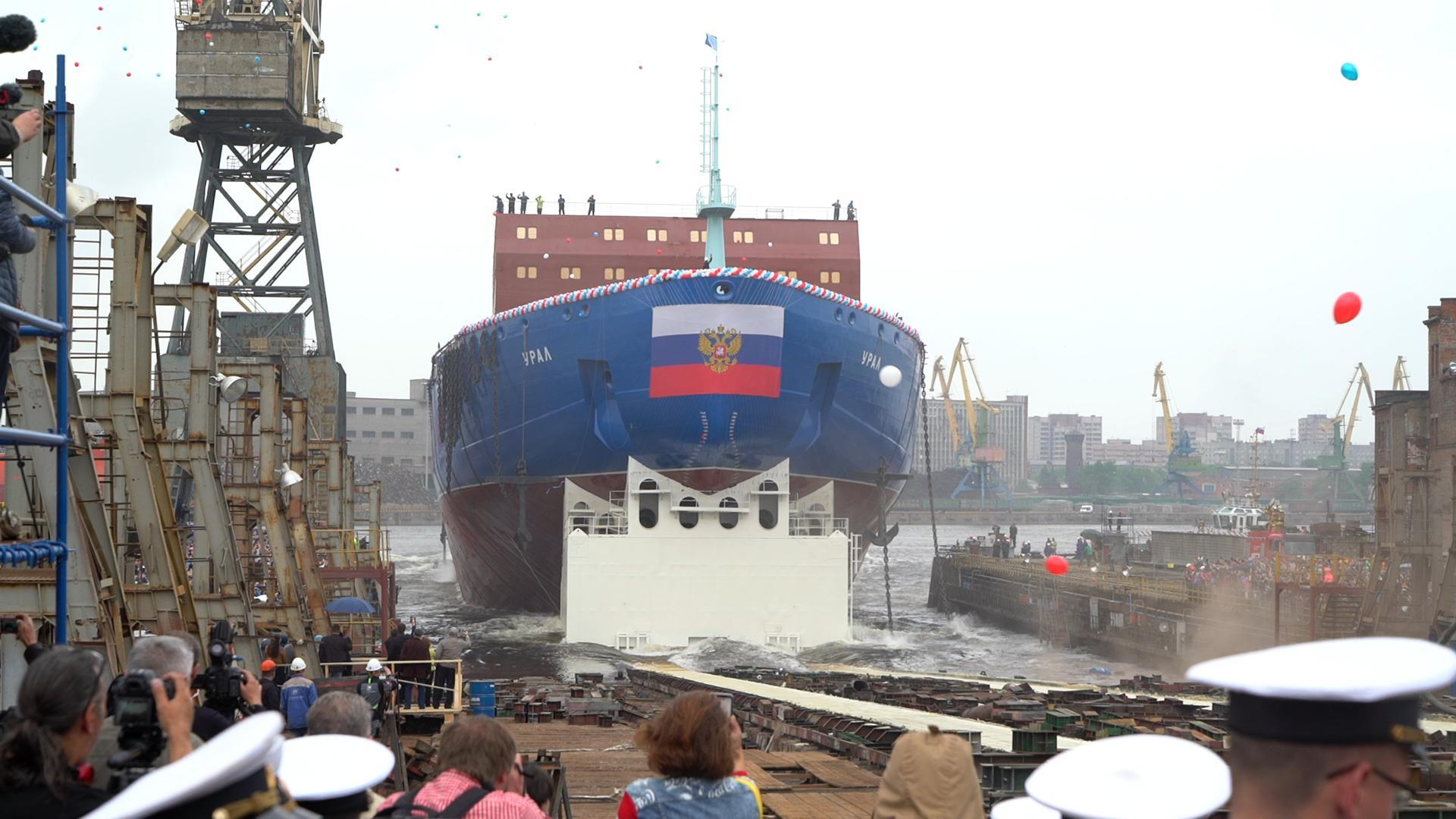 The Ural rolls out of the dry dock at Saint Petersburg's Baltic Shipyard.