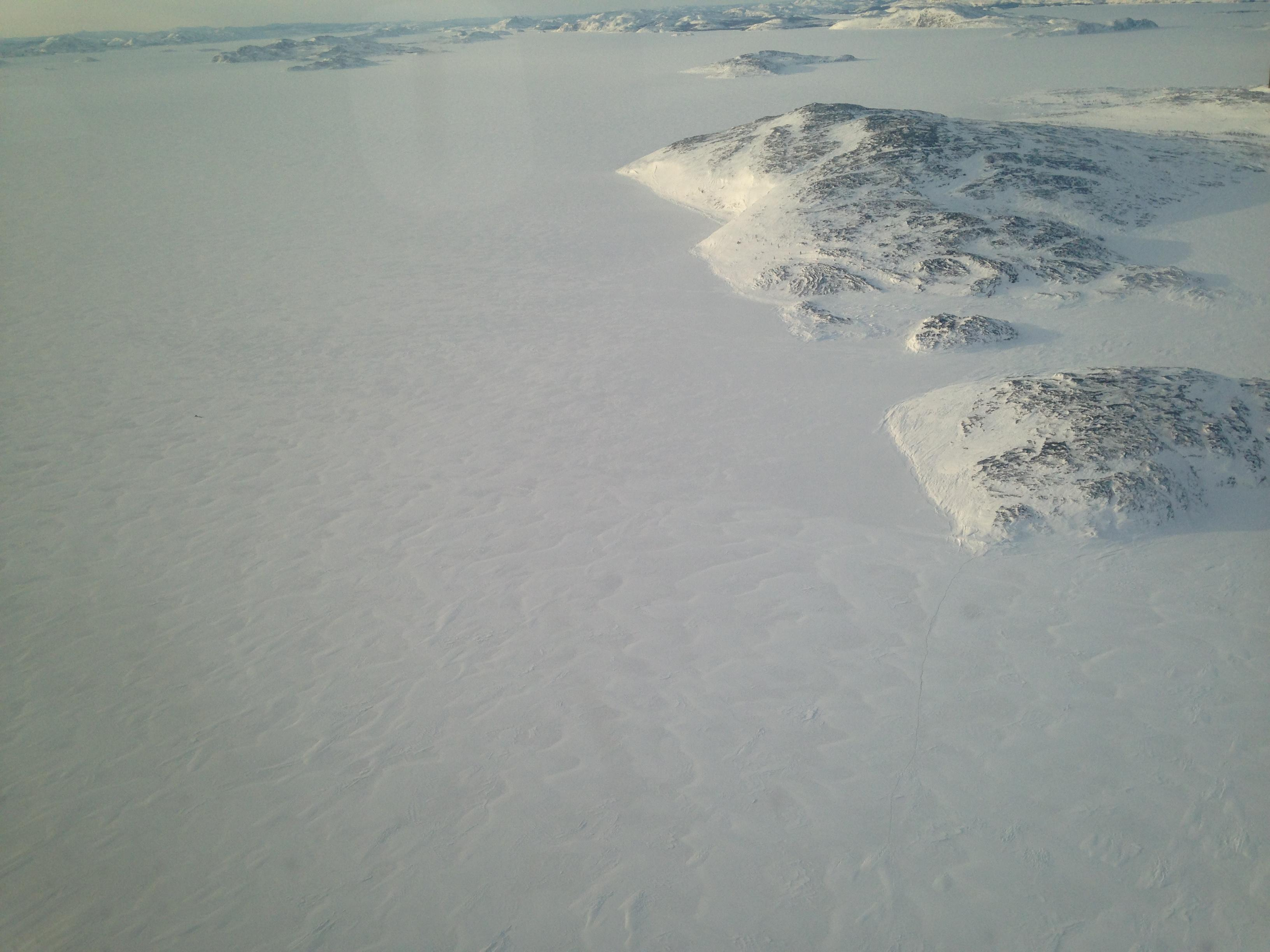 The coast of Labrador from the window of our Air Borealis twin prop (Angela Antle/CBC)