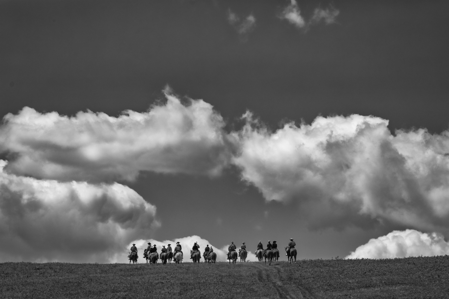 Riders cross a ridge in the Porcupine Hills to start a day of branding cattle at the Bar S Ranch.