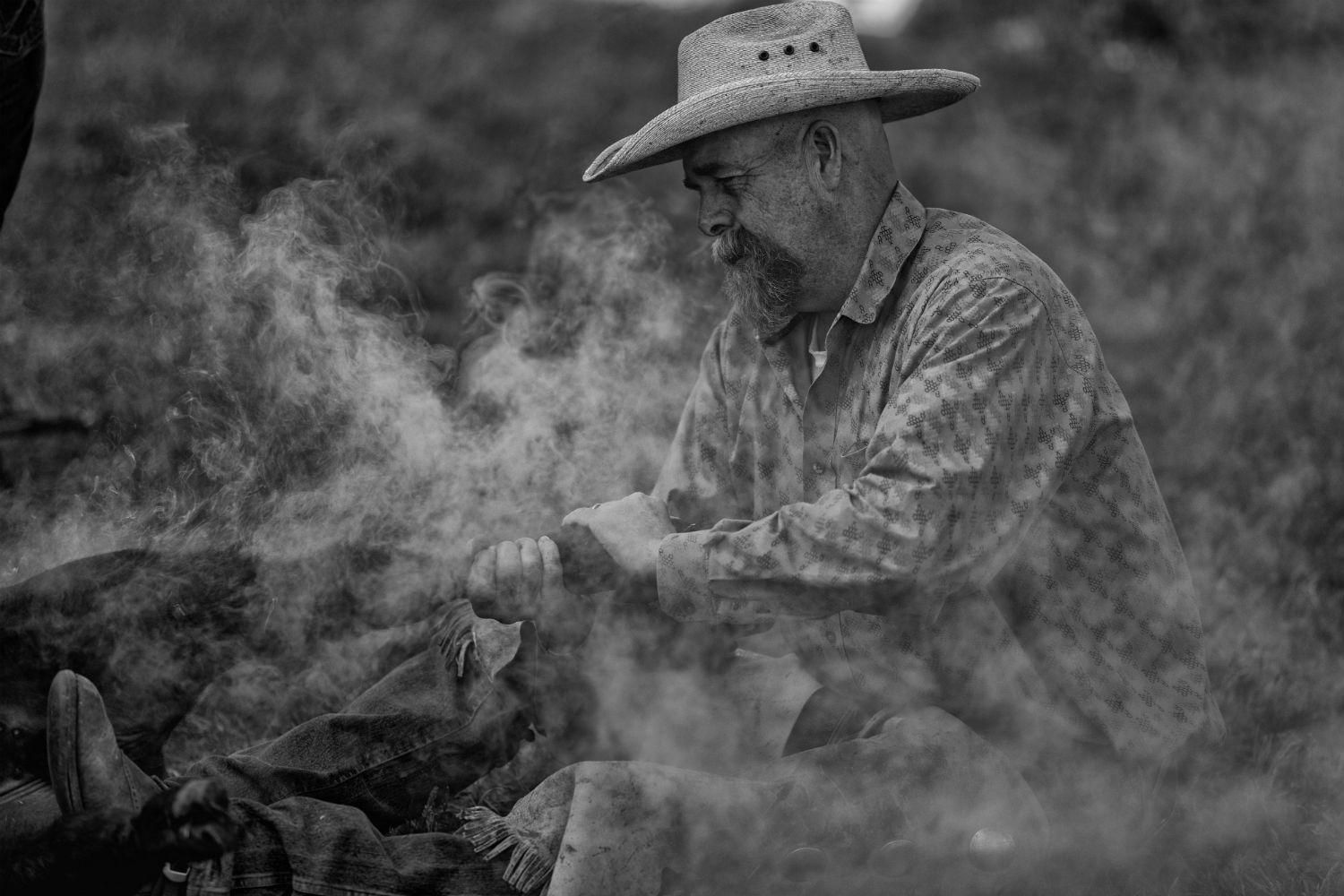 Scott Chattaway applies a brand on his family's ranch.