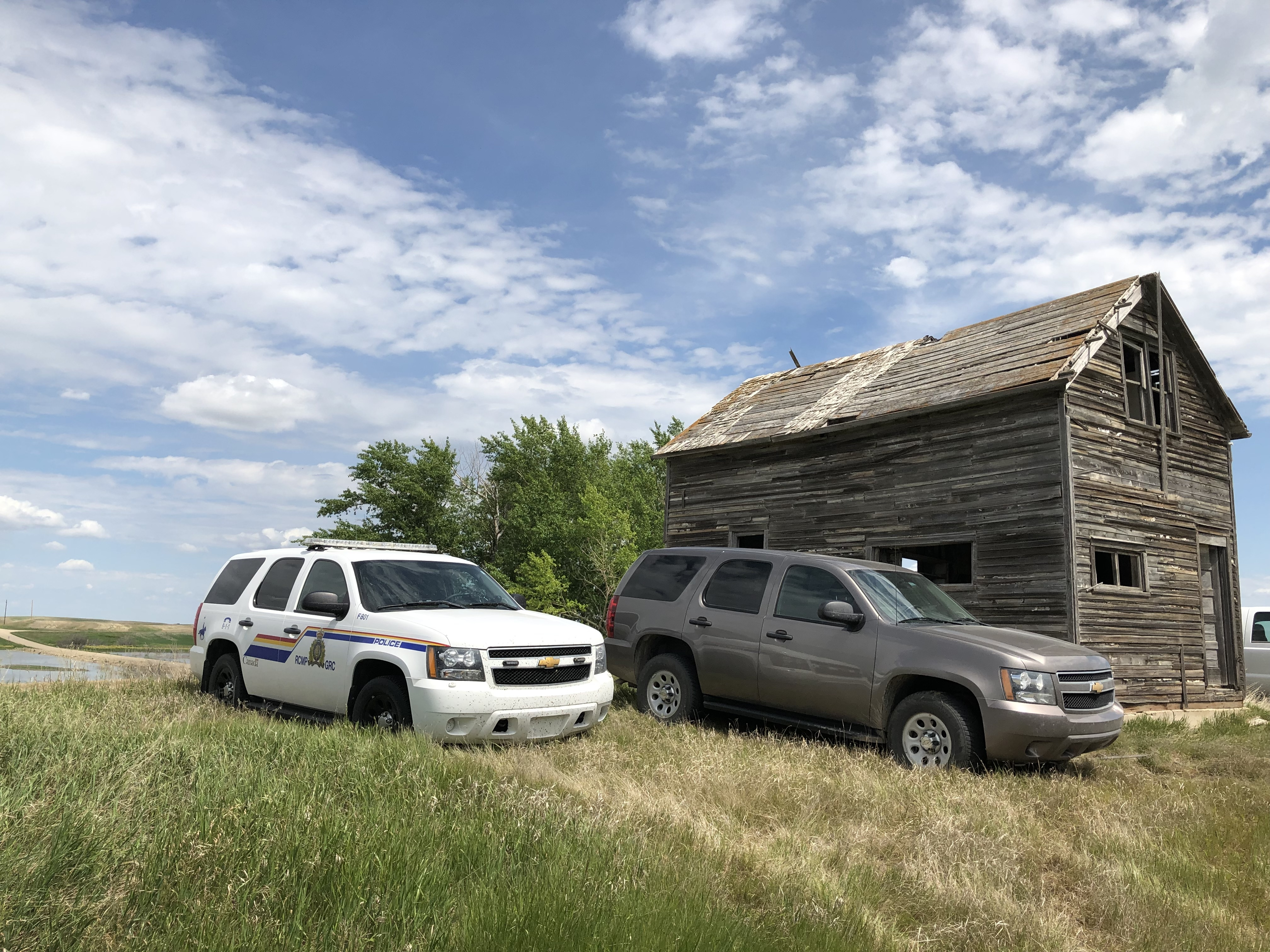 Police search near the gravel pit in July. (Victoria Dinh/CBC)