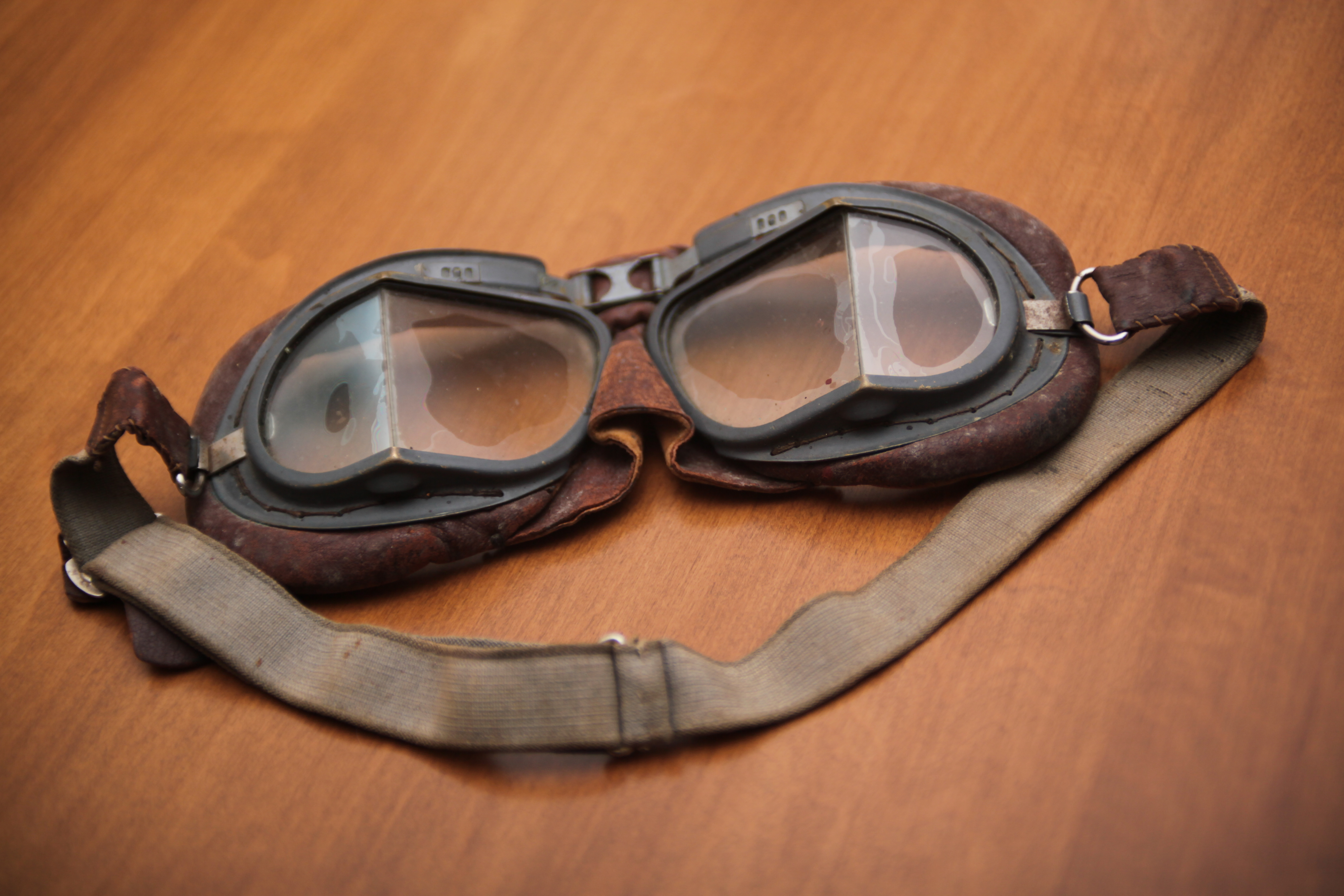 The goggles he wore while piloting his Spitfire. (Robert Guertin/CBC)