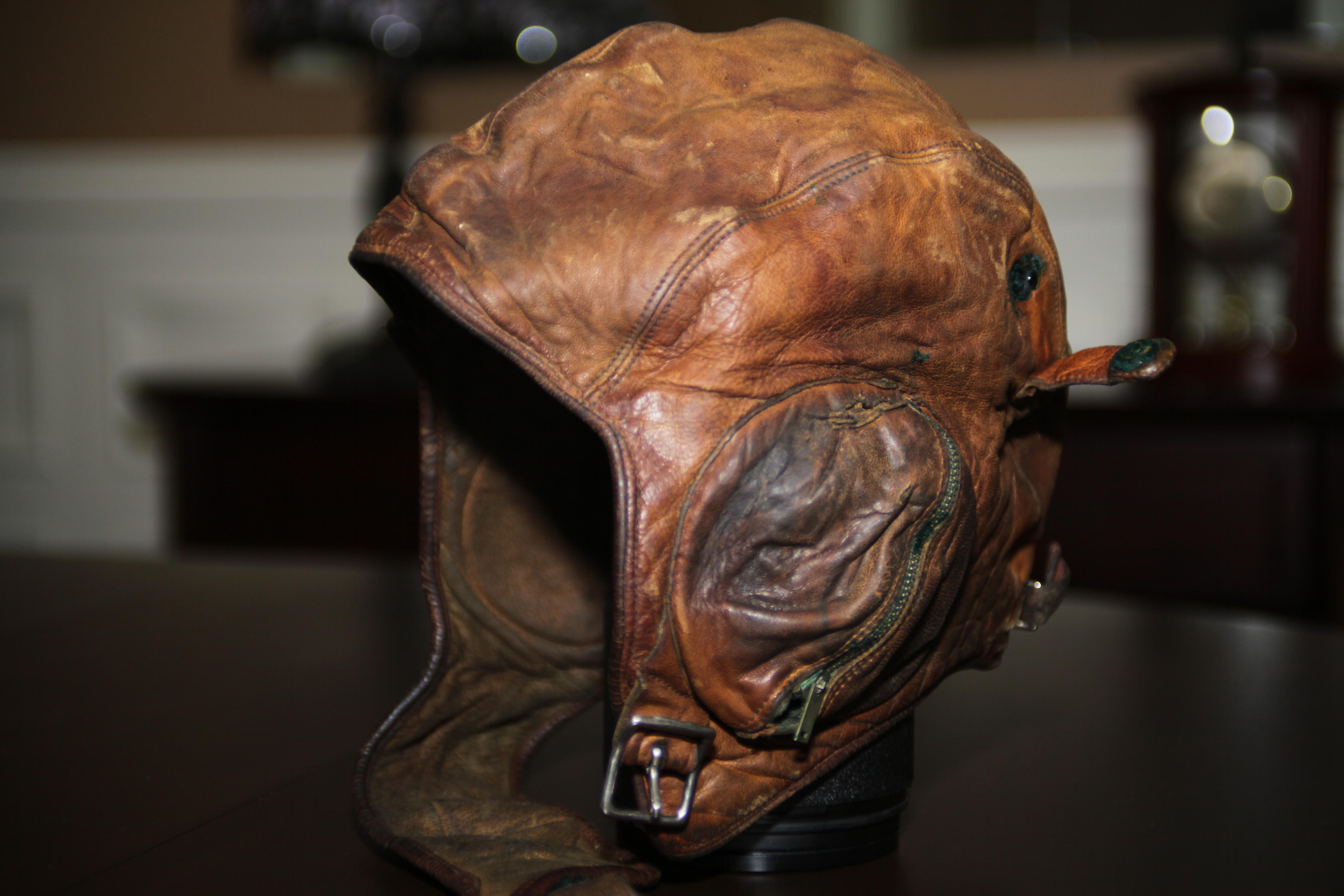 The leather flight helmet worn by Mann during the Second World War. (Robert Guertin/CBC)