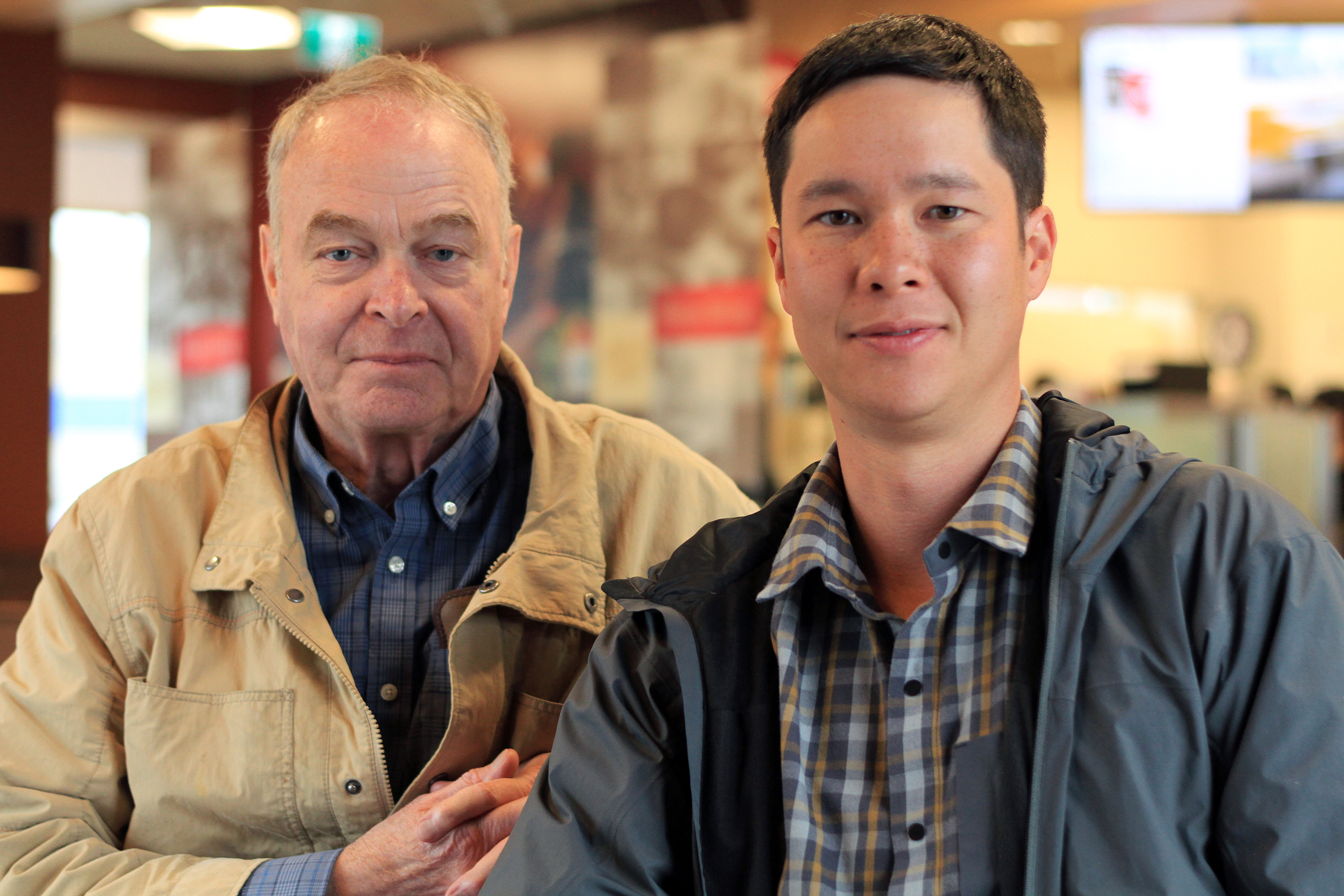 Hall and Wong, right, at Tim Hortons in June. The two call each other mentor and mentee. (Priscilla Hwang/CBC)