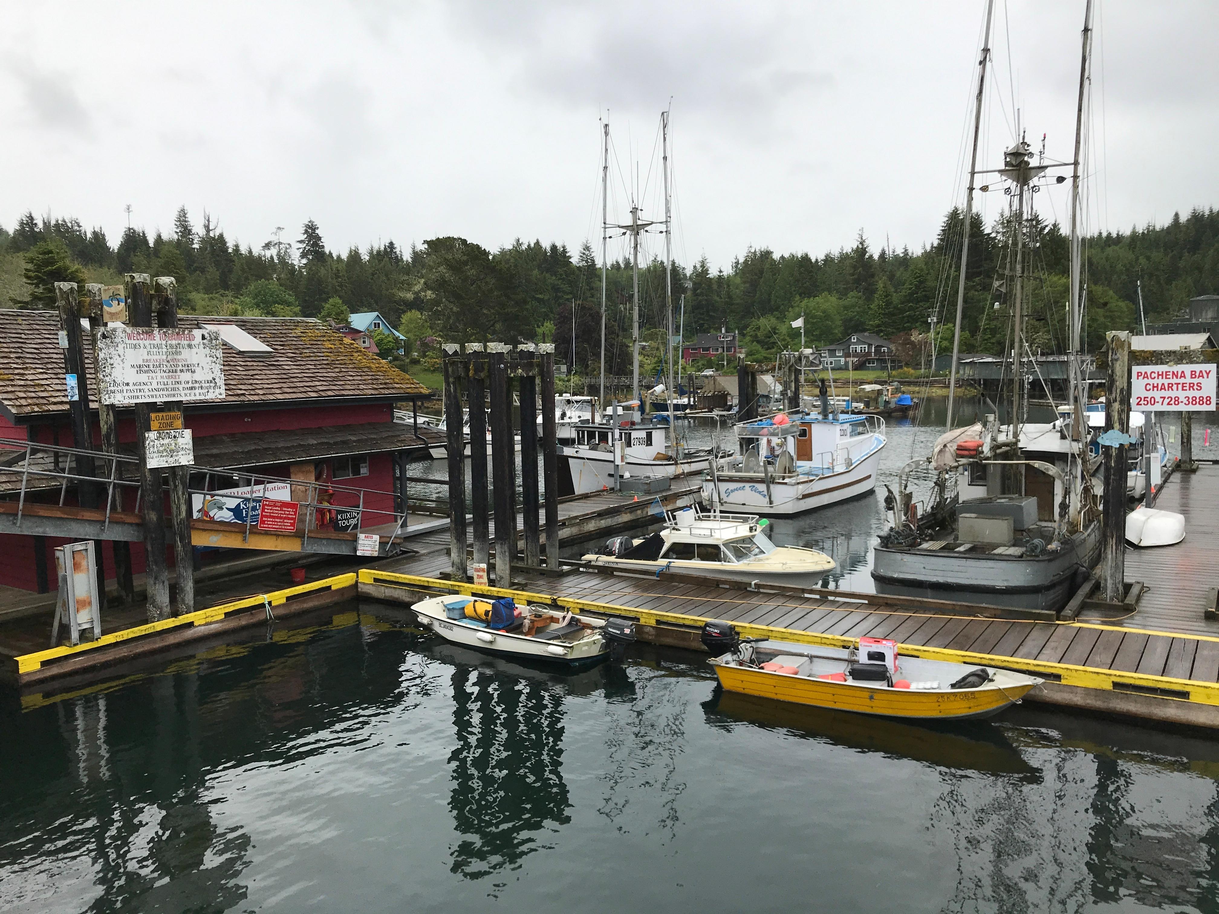 The main dock in the village of Bamfield. (Megan Thomas/CBC)
