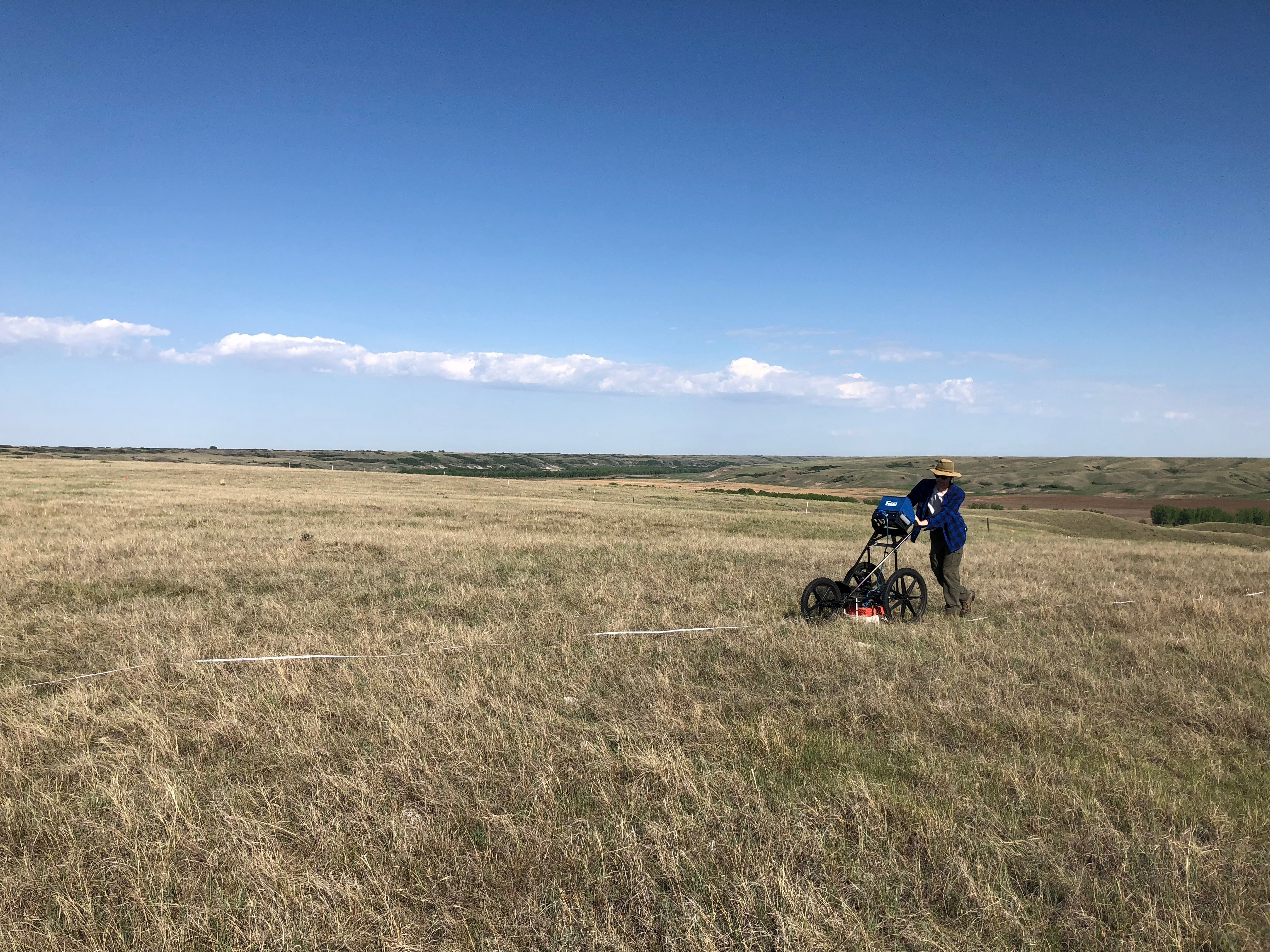 William Wadsworth using the GPR at the Mattheis Research Ranch in May. (Submitted)