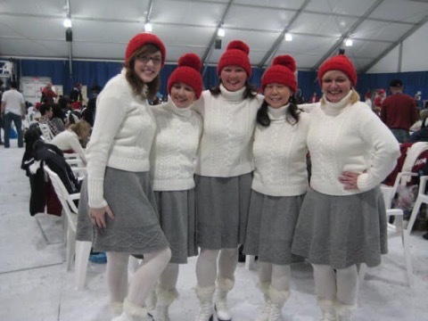 Karen Dickson, second from left, was a so-called audience leader during the 2010 opening and closing ceremonies. Audience leaders were tasked with hyping up the crowd. (Karen Dickson)
