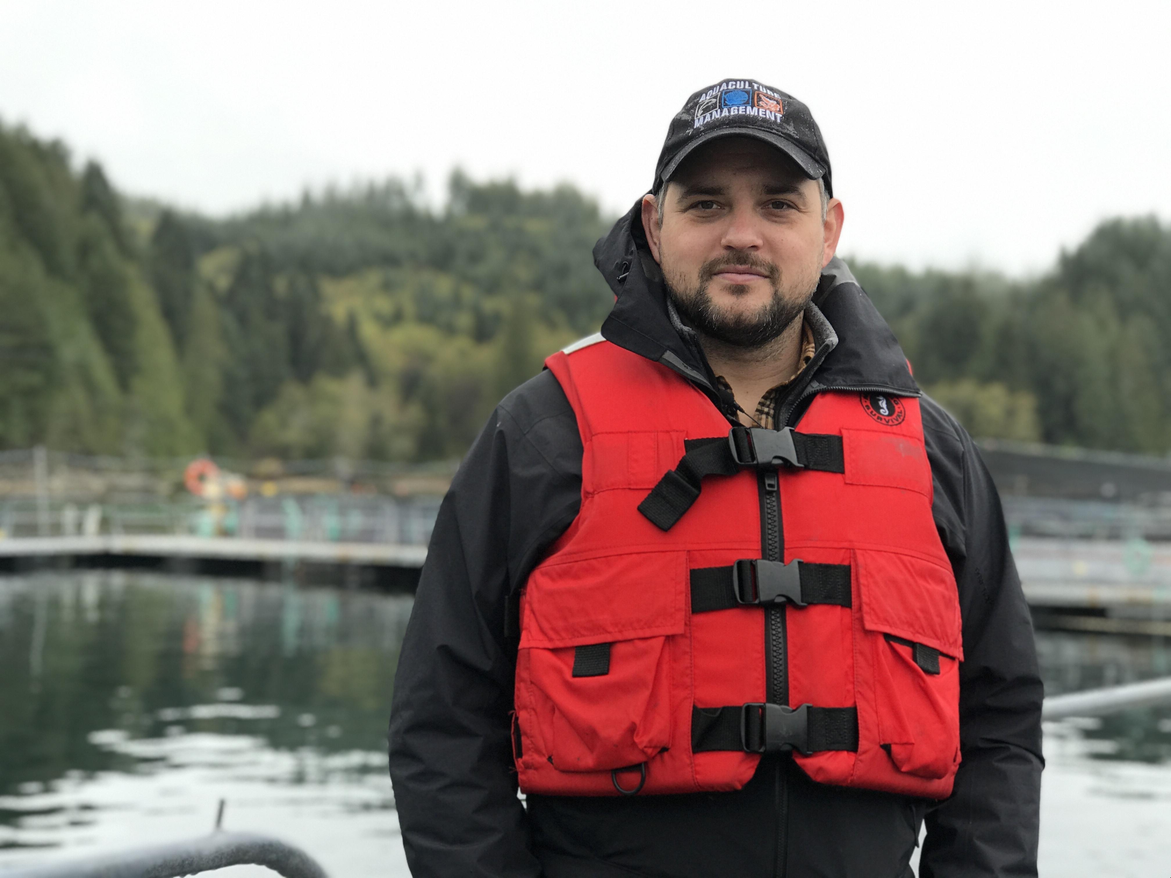 Zachary Waddington is the lead aquaculture veterinarian for DFO in the Pacific Region. (Megan Thomas/CBC)