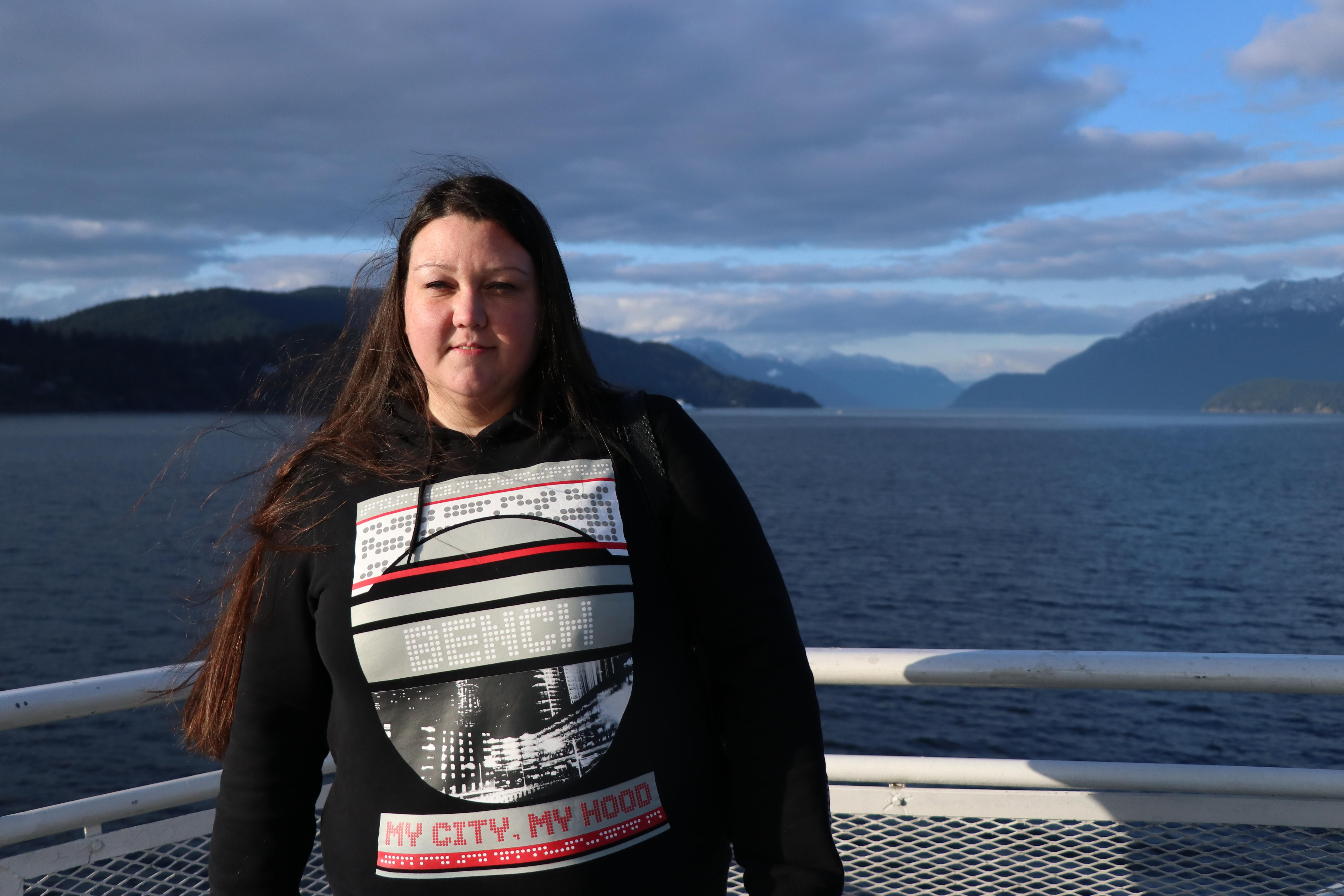 Amanda Lepine on the ferry back to the B.C. mainland and the Fraser Valley Institution for Women. (Chantelle Bellrichard/CBC)
