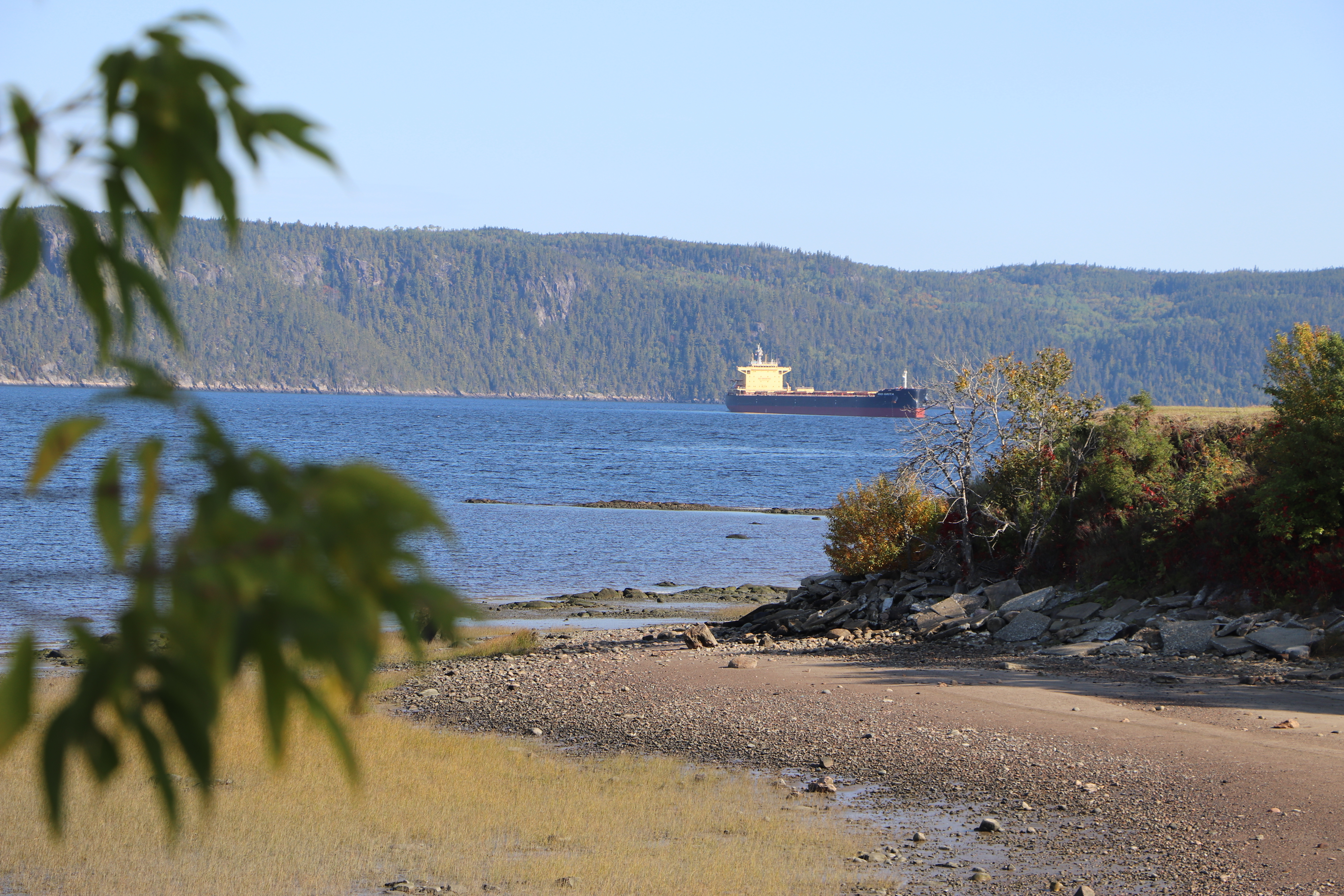 A cargo ship heading for the Rio Tinto port facilities waits to enter La Baie des Ha! Ha!, on the Saguenay Fjord.