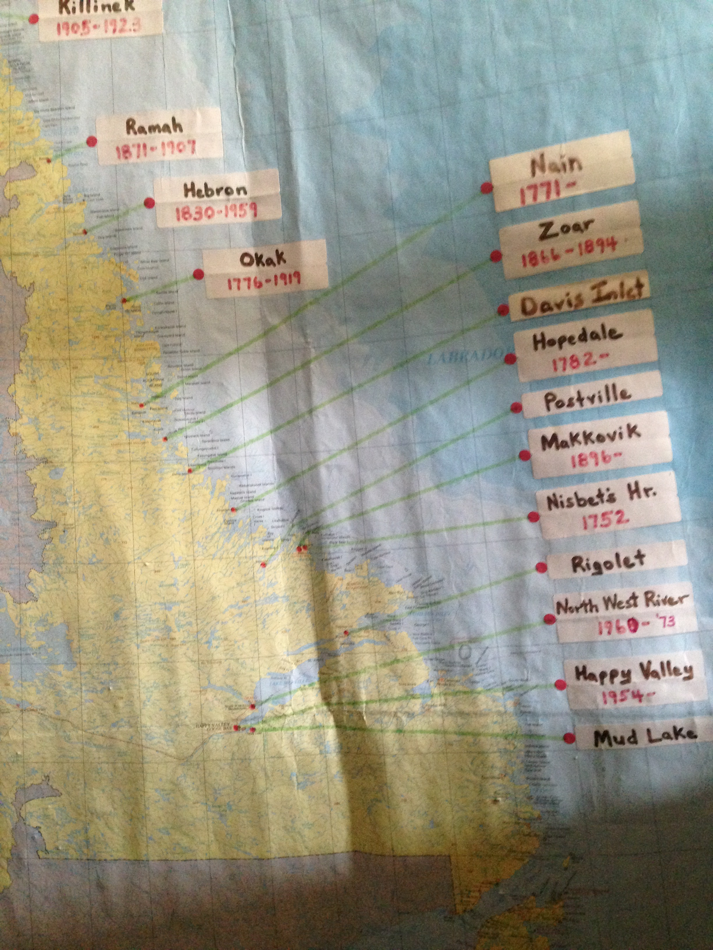 A map of all the Moravian missions founded in Labrador. (Angela Antle/CBC)