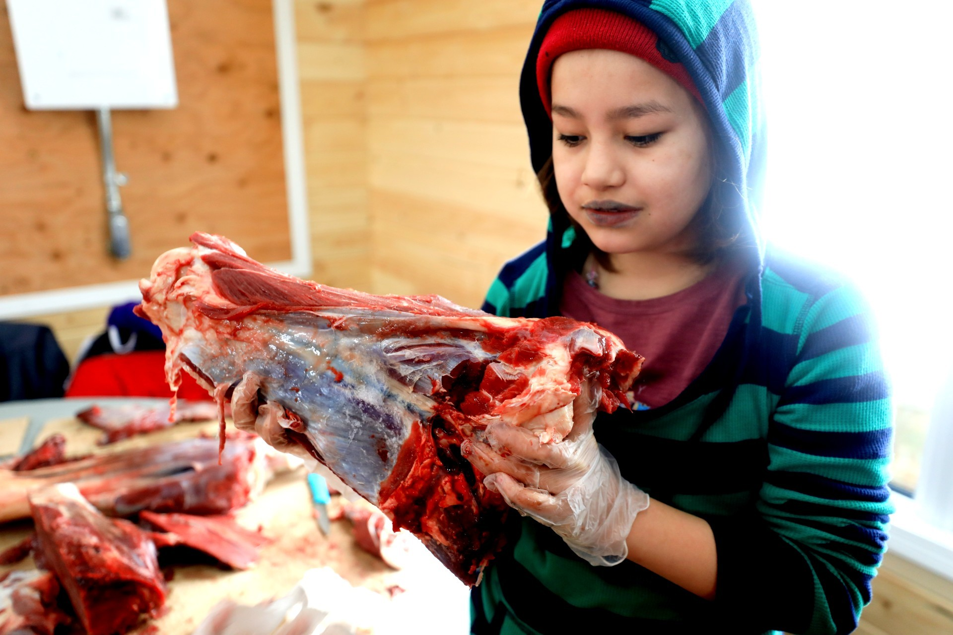 Grade 4 student Noreen Mckenzie learns how to prepare moose meat. (Heidi Atter/CBC)