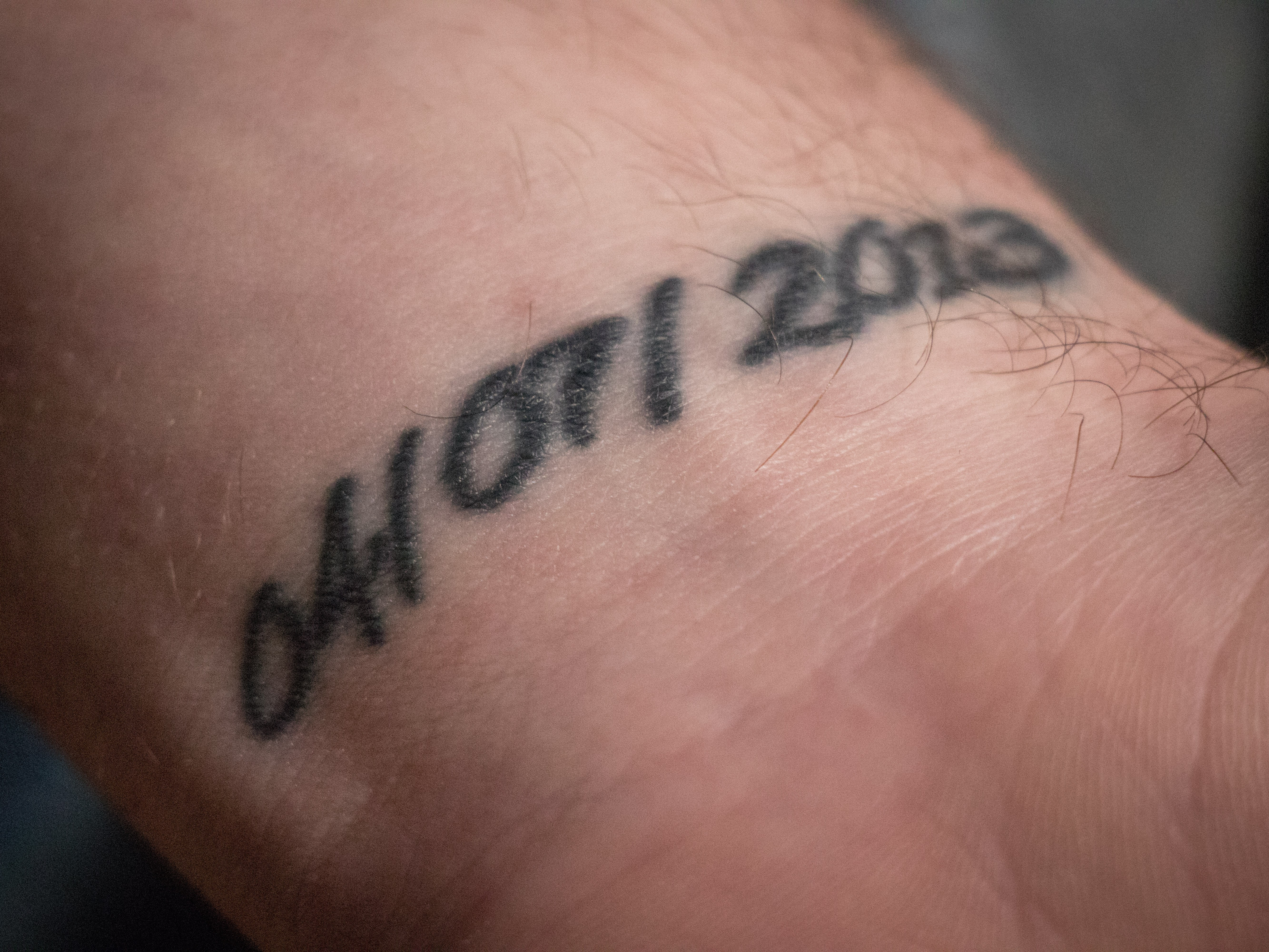 Jacob Wells has a tattoo with the date of Rehtaeh's death on the inside of his left wrist. (Steve Berry/CBC)