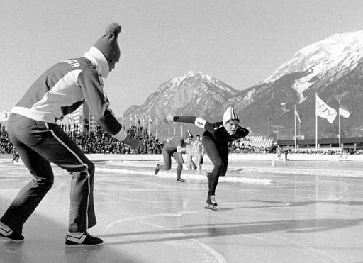 Kathy Gregg (nee Vogt) competing at the Innsbruck Olympics in 1976. (Supplied by Kathy Gregg)