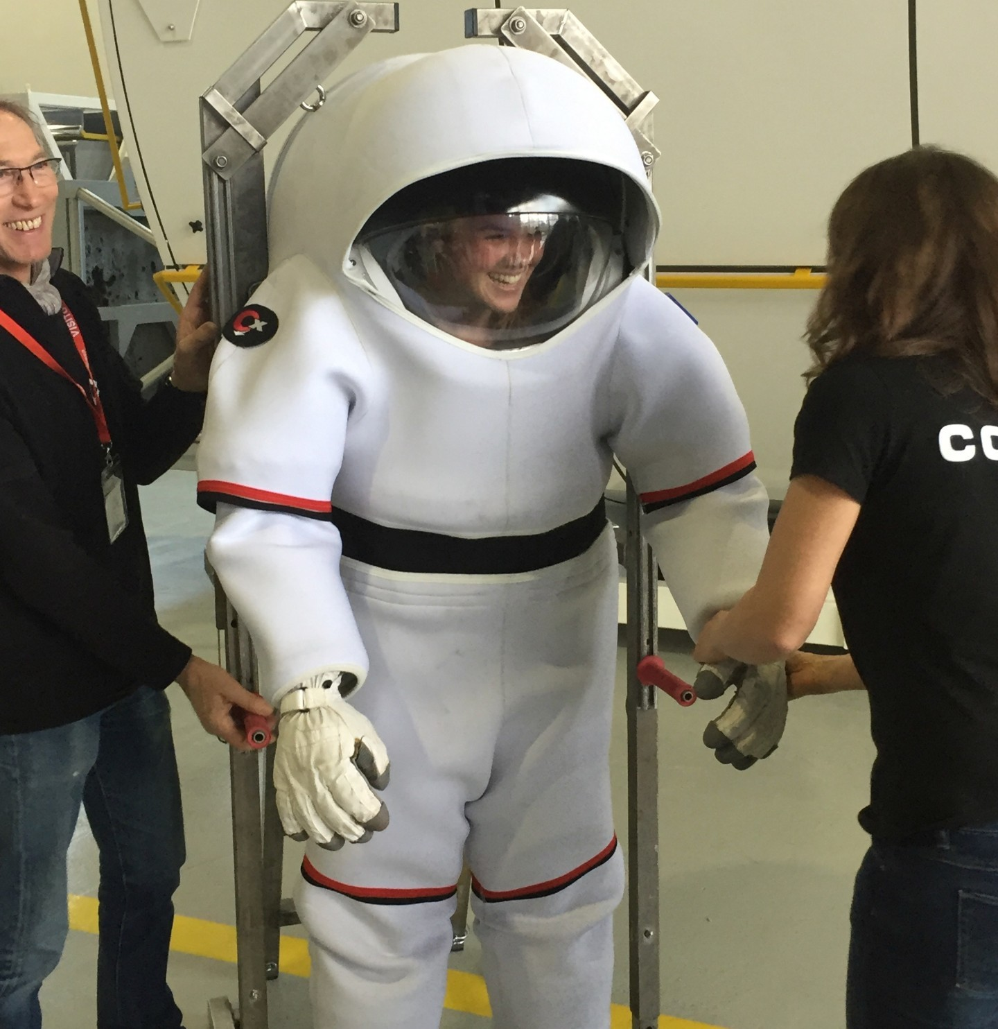 Katie Harris is outfitted with a diving suit at the European Astronaut Centre during Space Medicine Week earlier this year. (Submitted)