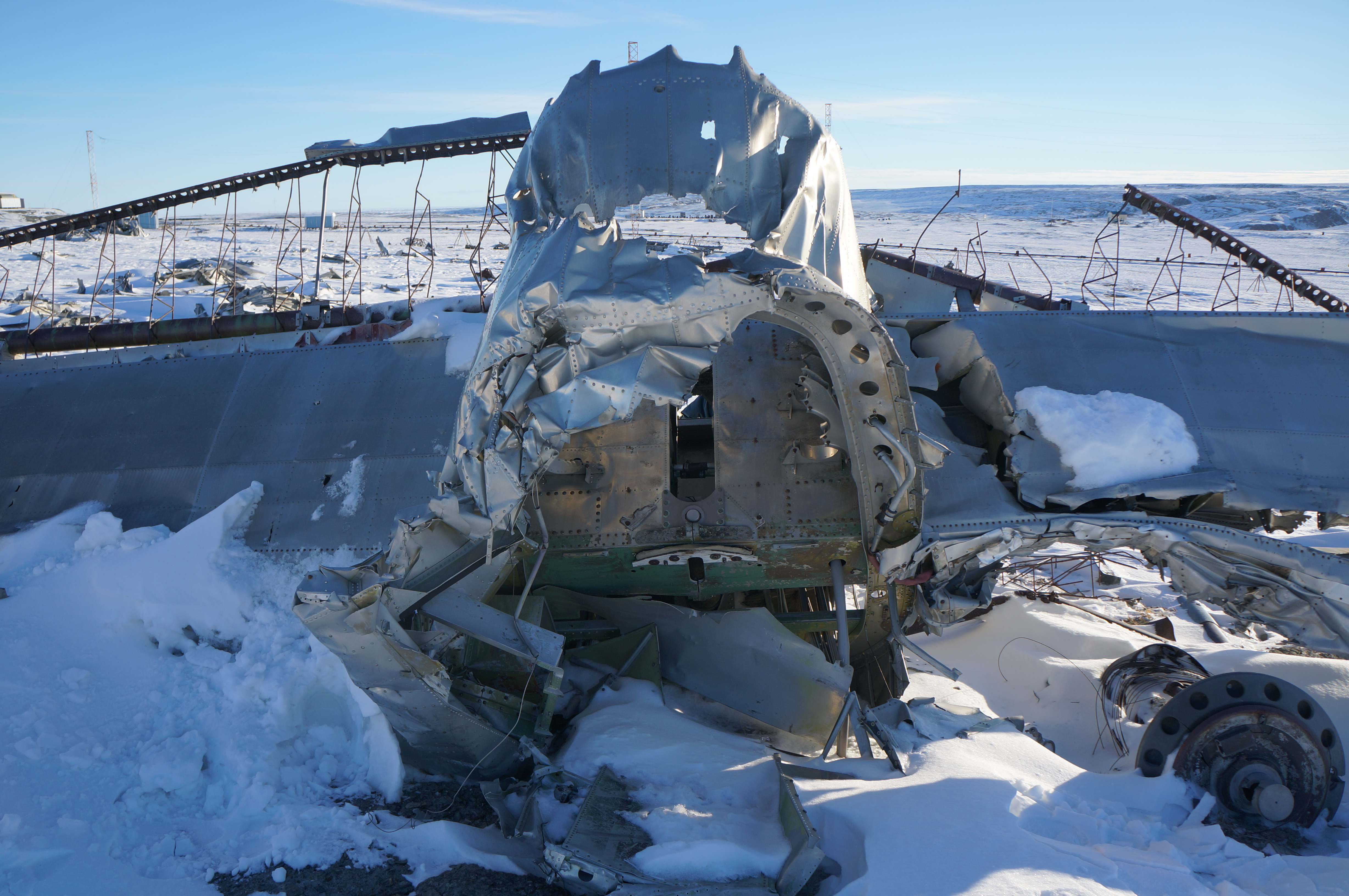 The wreckage from Lancaster 965 still sits near CFS Alert, nearly 70 years after the crash. (Submitted by Richard Mayne/RCAF)