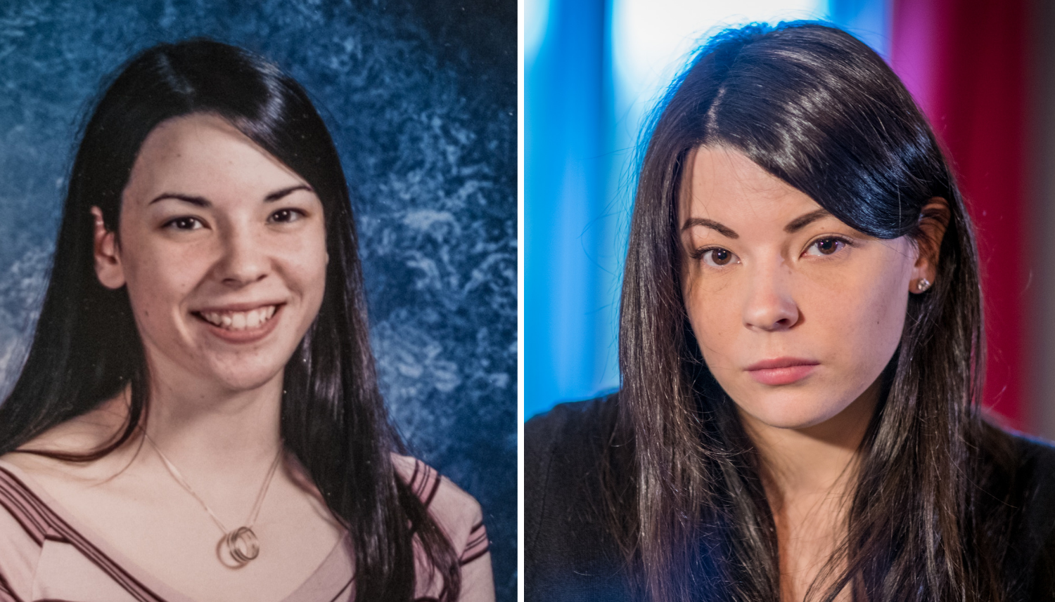 From left, Laurie Howat's yearbook photo from the early 2000s, and Howat in 2018. (Michel Aspirot/CBC)