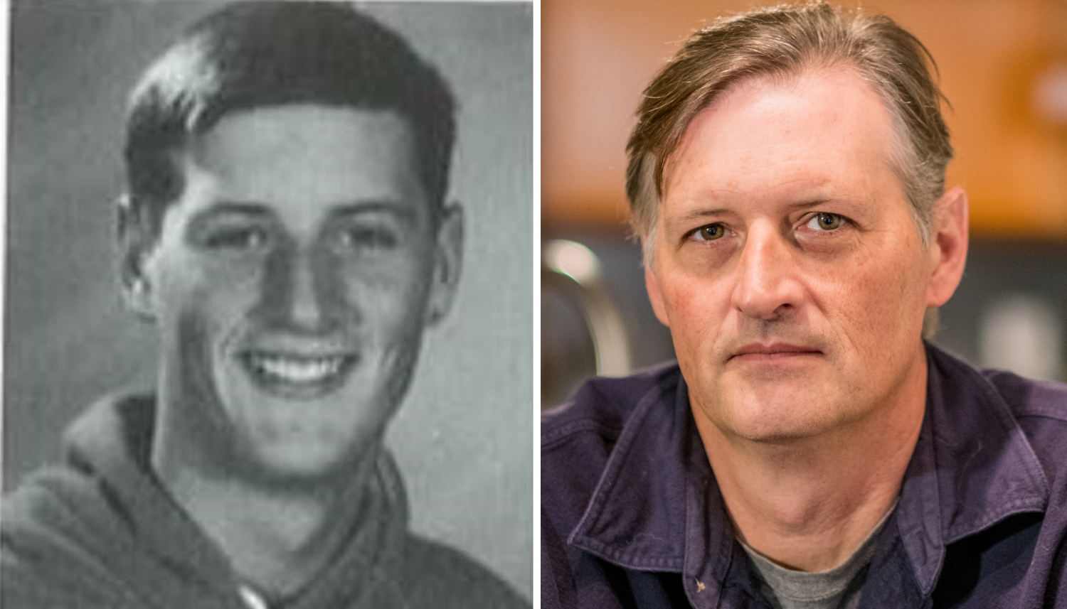 From left, Marc Leach's yearbook photo from 1992, and Leach in 2018. (Michel Aspirot/CBC)