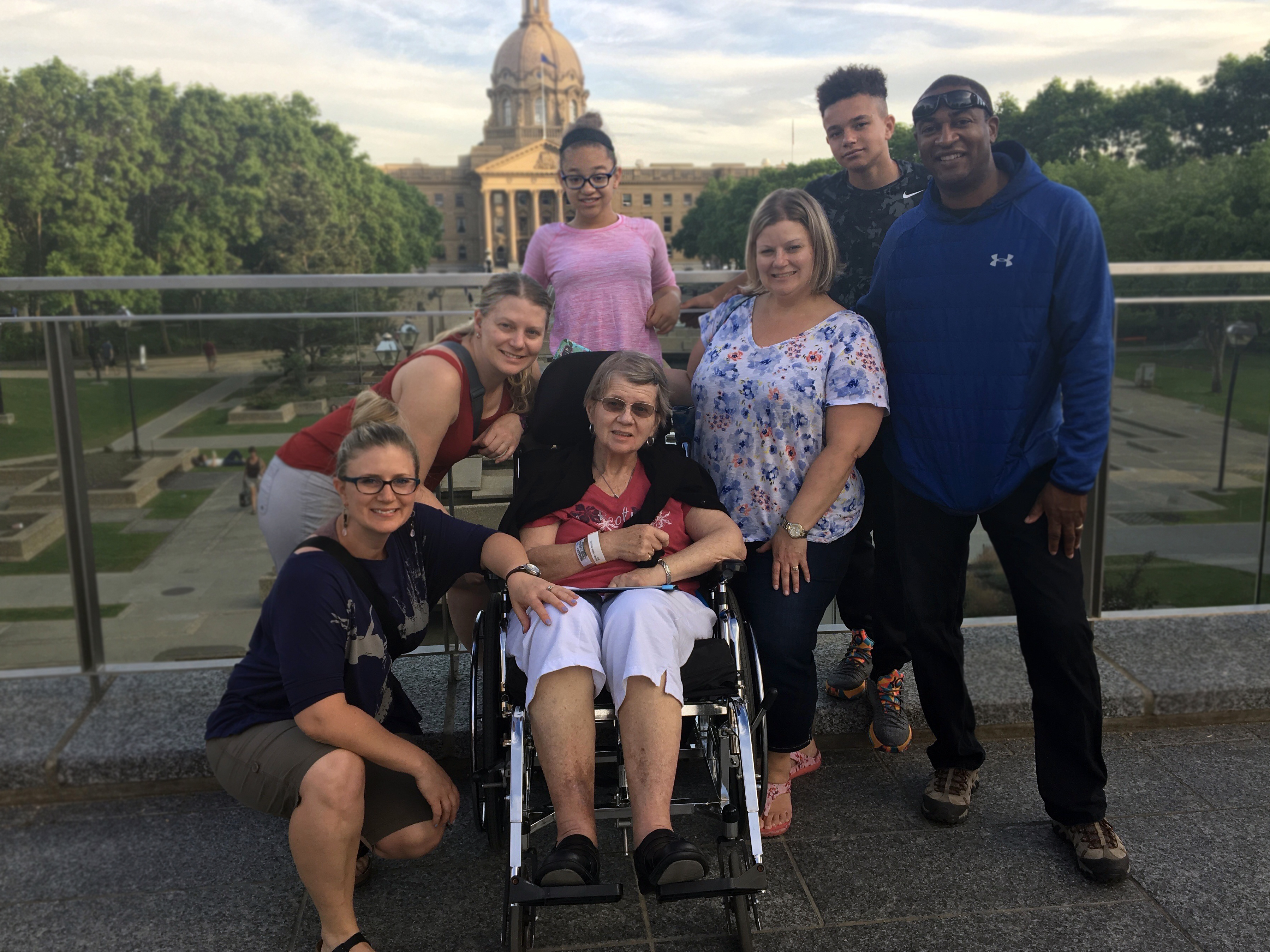 During her final weekend, Nowicki's family wheeled her to the Alberta Legislature. (Nowicki family)