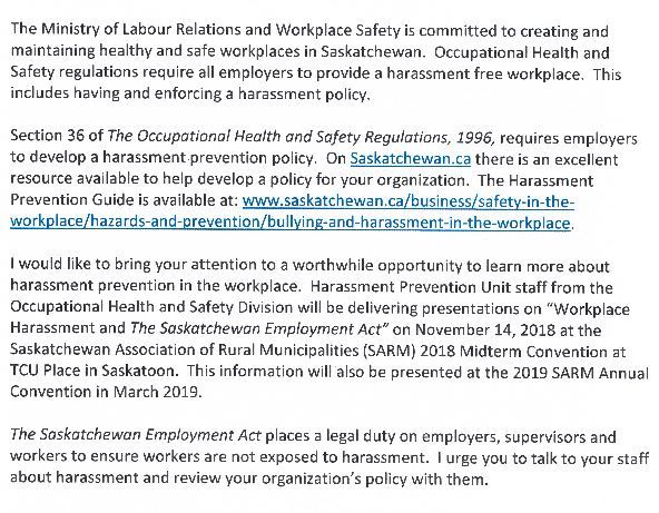 A letter signed by acting deputy workplace safety minister Peter Suderman to all Saskatchewan rural municipalities on Nov. 8.