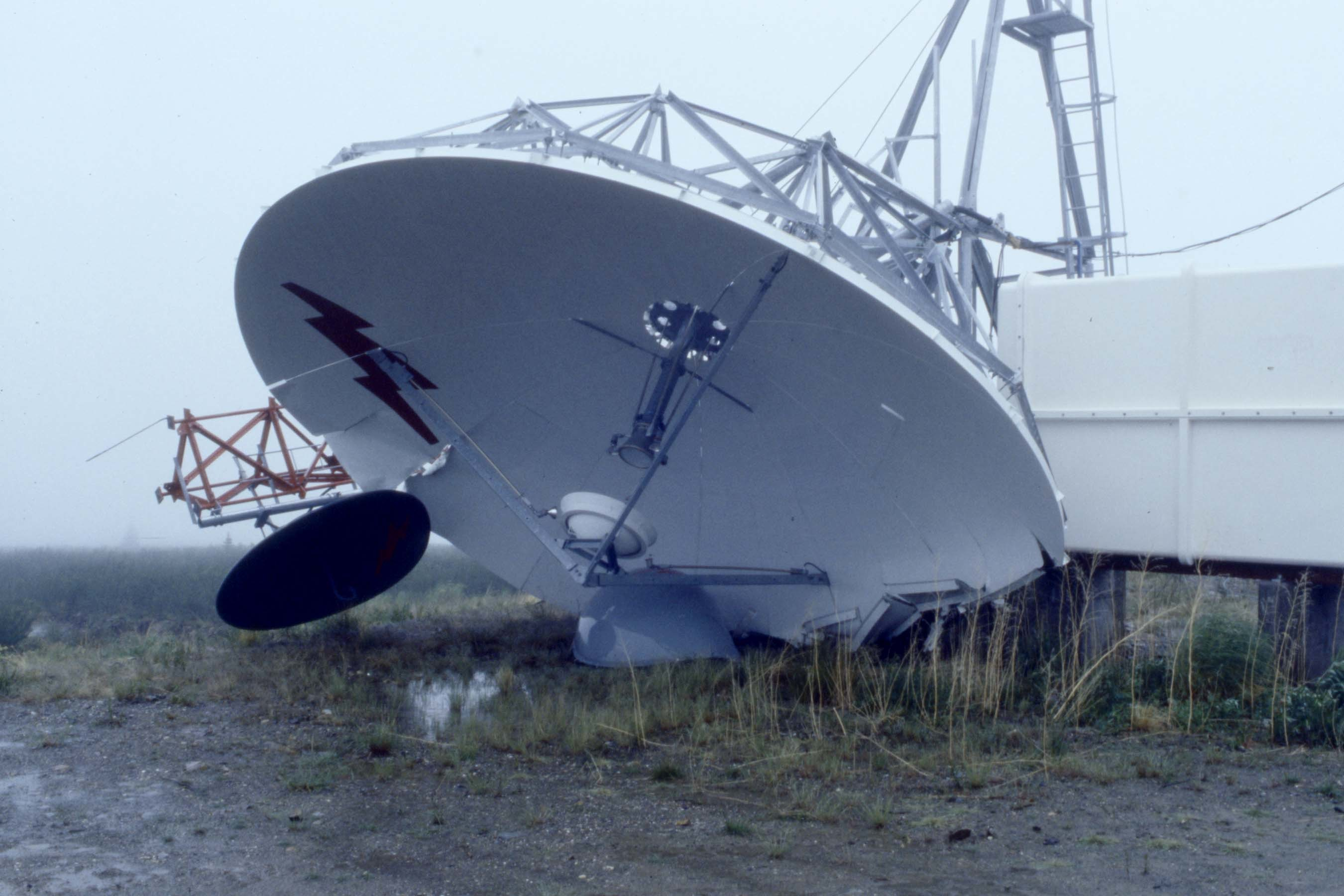 The full force of the tower came down on top of the satellite dish. (Tim Kinvig)