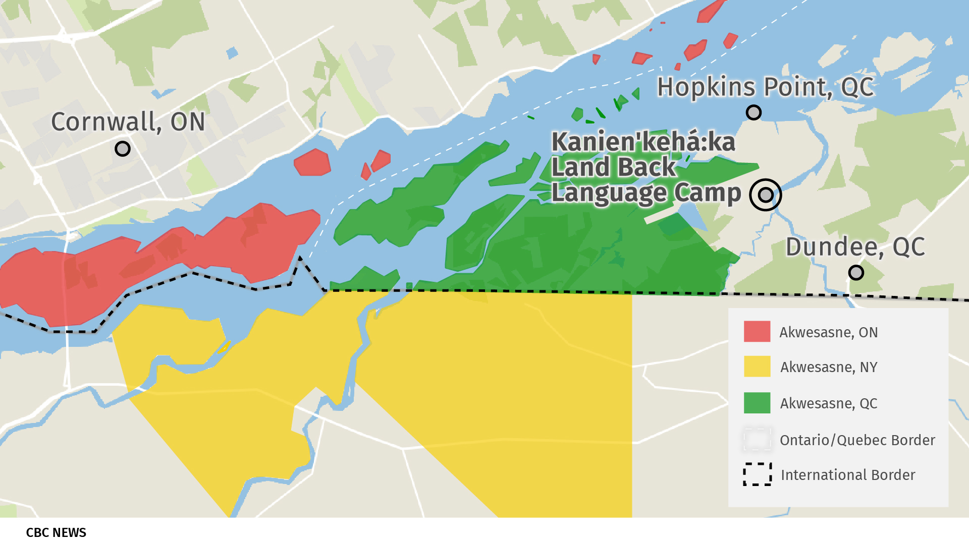 Akwesasne's territory is separated by the Ontario, Quebec, and New York State borders. The Kanien'kehá:ka Land Back Language Camp is located east of the community in an isolated region of Dundee, Que. (CBC News)