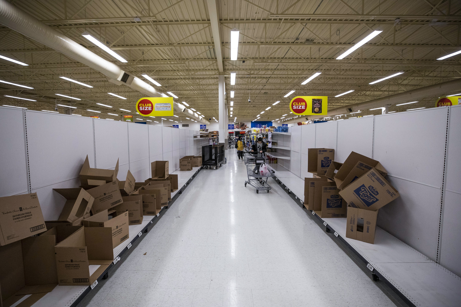 Empty shelves of toilet paper at a Superstore in Richmond, B.C. on March 17, 2020, the day the province declared a public health emergency. (Ben Nelms/CBC Vancouver)