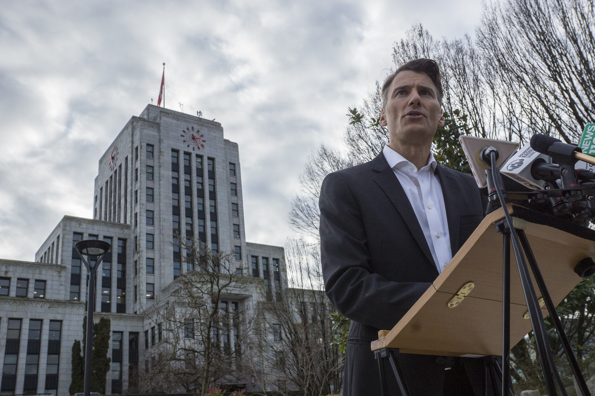 Mayor Gregor Roberston announces on Jan. 8, he won't seek re-election. (Tina Lovgreen/CBC)