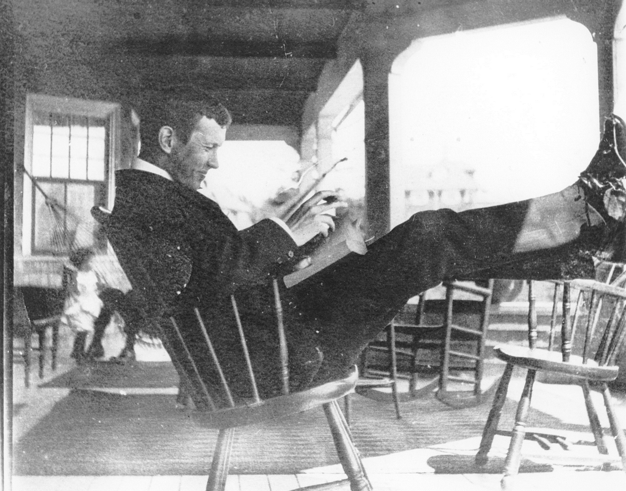 McCrae is shown relaxing outside a hospital in 1897. (Guelph Museums)