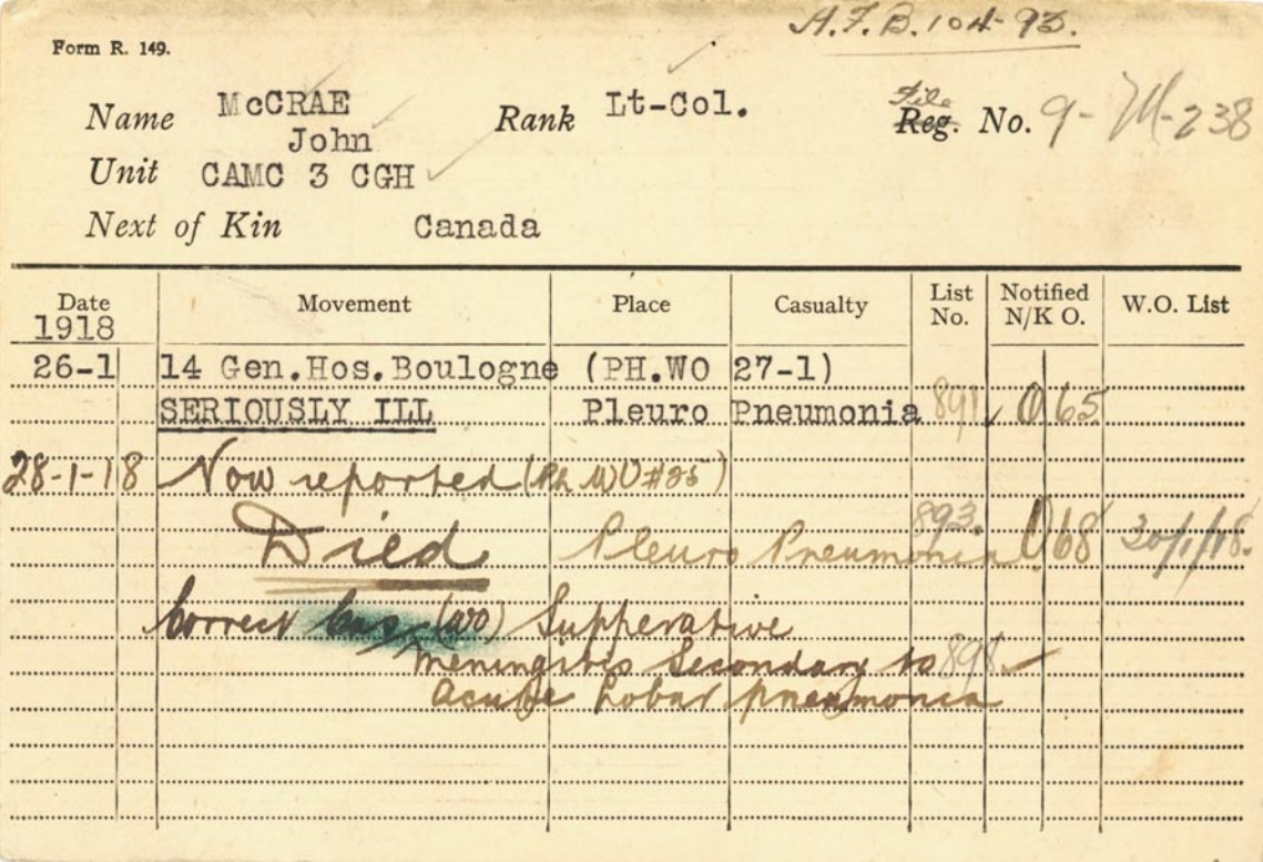 A card reporting McCrae's death was placed in his military file. (Library and Archives Canada)